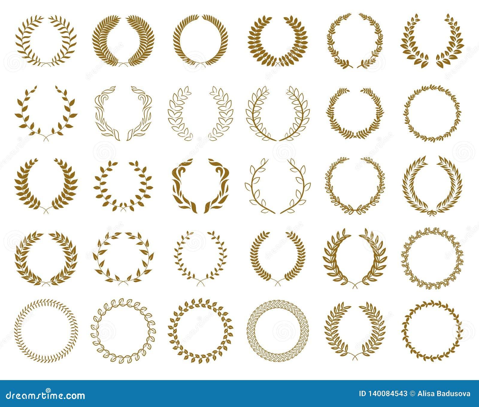 Set złocistej nagrody laurowi wianki i gałąź na białym tle, wektorowa ilustracja