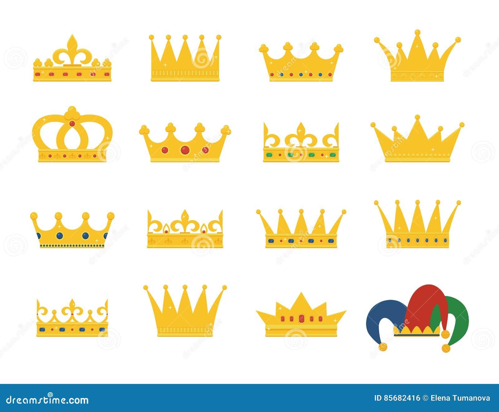 Set złoto korony i dowcipnisia ` s kapelusz