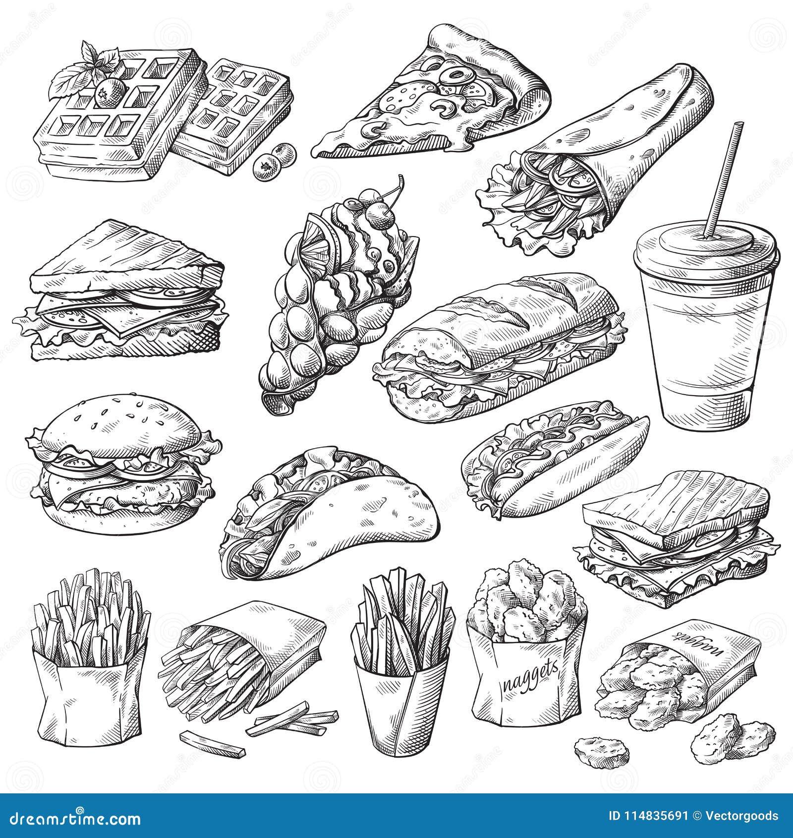 Set z fastów food produktami
