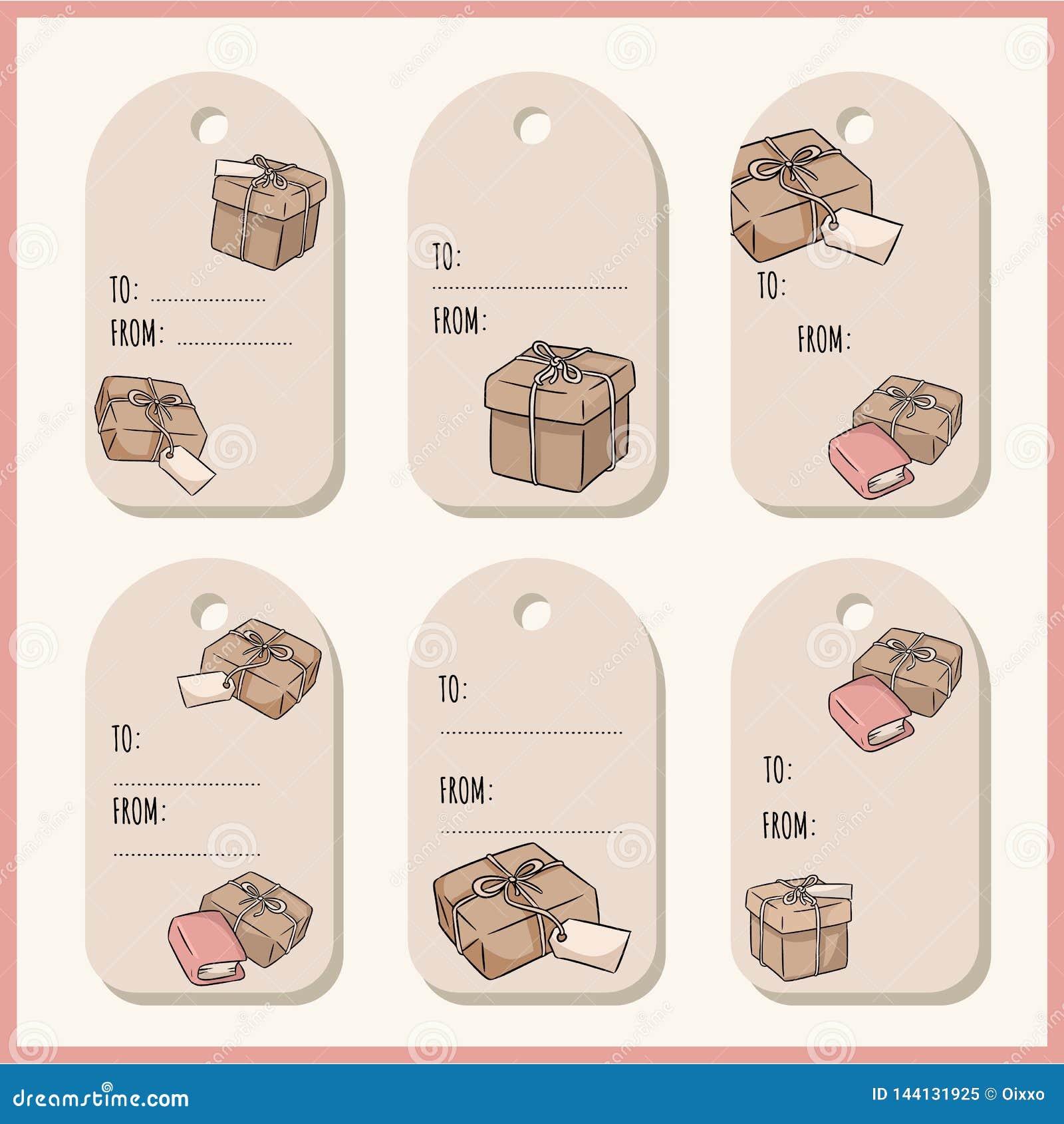 Set z ręki rysującymi prezentów pudełkami doodles prezent etykietki etykietka inkasowy wektor