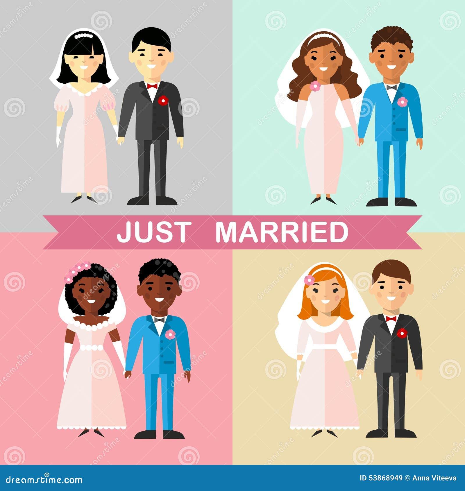 Set zamężny azjata, afrykanin, amerykanin, europejczyk, międzynarodowi par ludzie