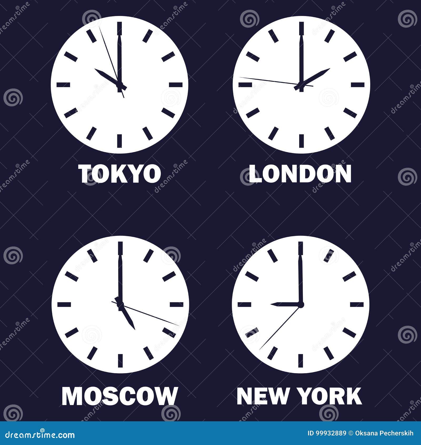 Set zegary pokazuje czas różnicę w różnych strefach czasowych wokoło zegarowych zegarów pokazywać czas timezone świat międzynarod