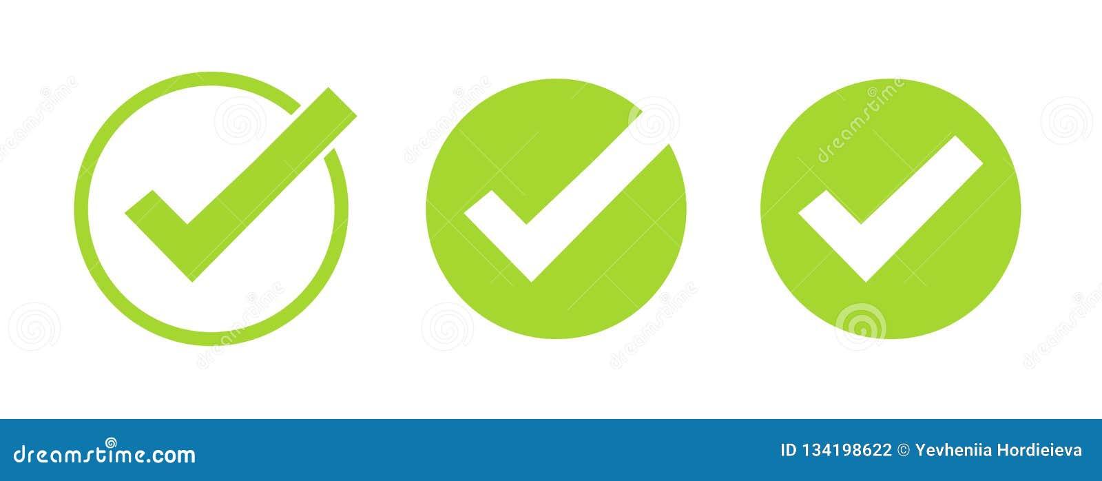 Set zieleń cwelicha ikony Wektorowi symbole ustawiają, checkmarks kolekcja odizolowywająca na białym tle Sprawdzać ikona lub popr