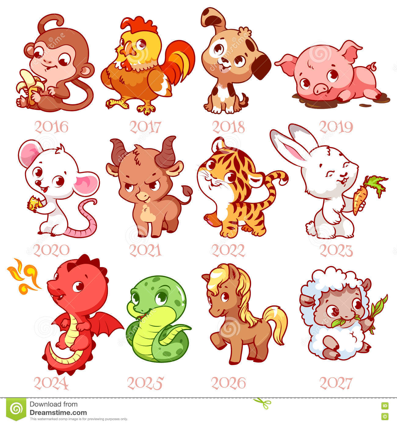 Chinese Zodiac Signs Stock Vector Art & More Images of