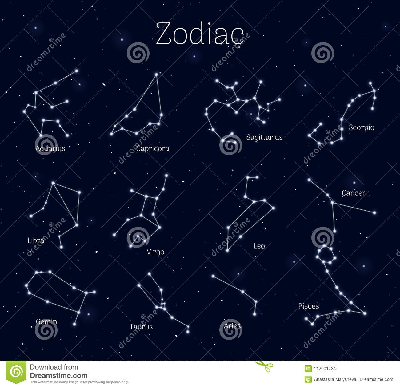 Set zodiac signs, night sky background, realistic