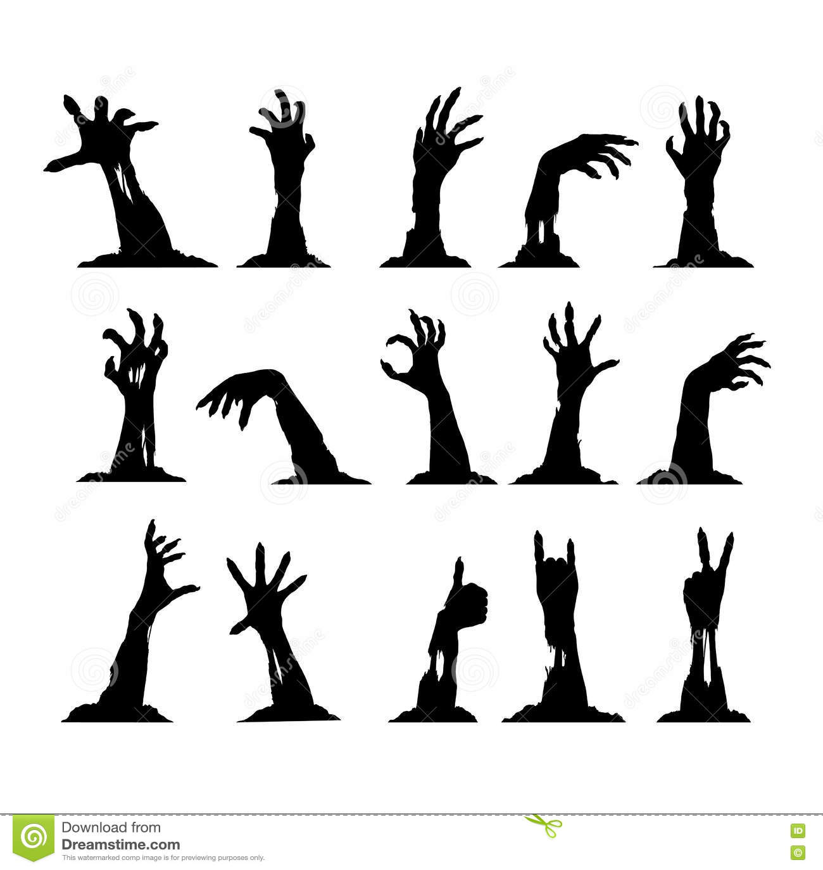 Set of Zombie Hands stock vector. Illustration of cruel