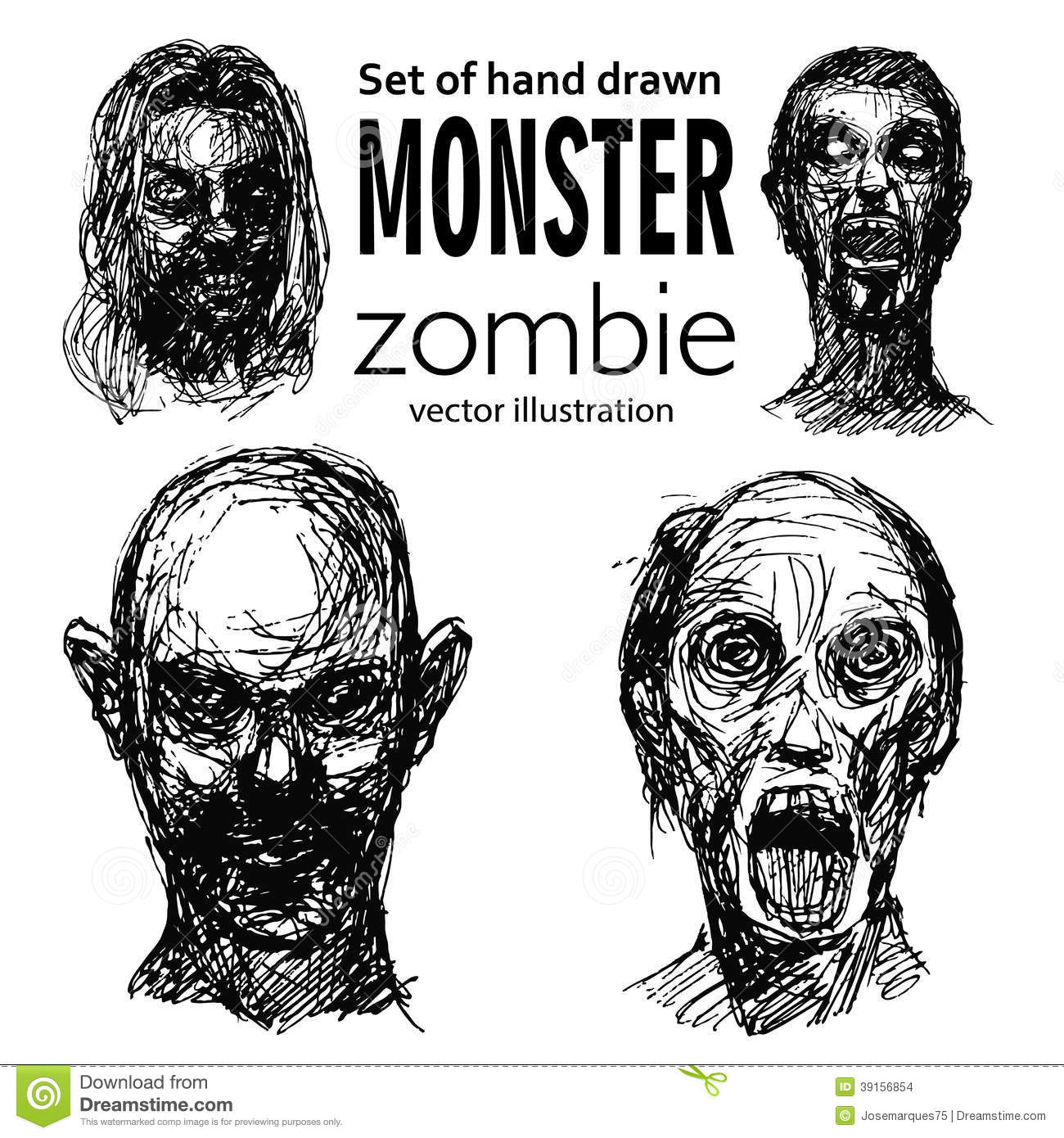 Zombie Face Line Drawing : Set of zombies heads stock vector illustration face