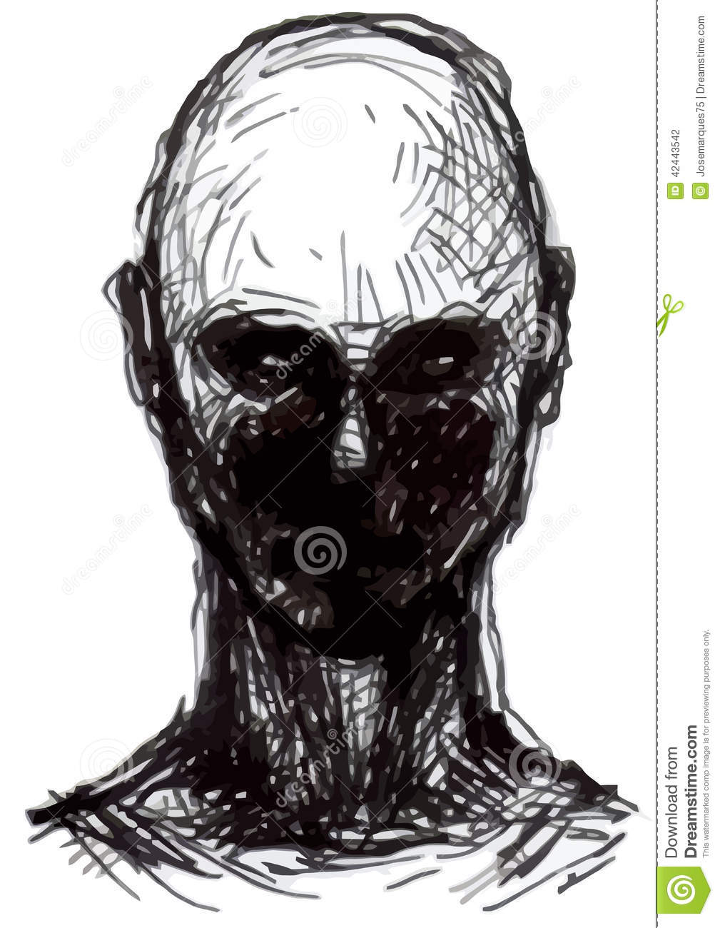 Zombie Face Line Drawing : Set of zombies heads stock illustration image
