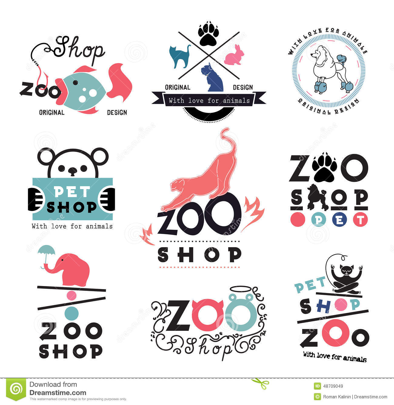 set of zoo pet shop logo and design elements stock vector
