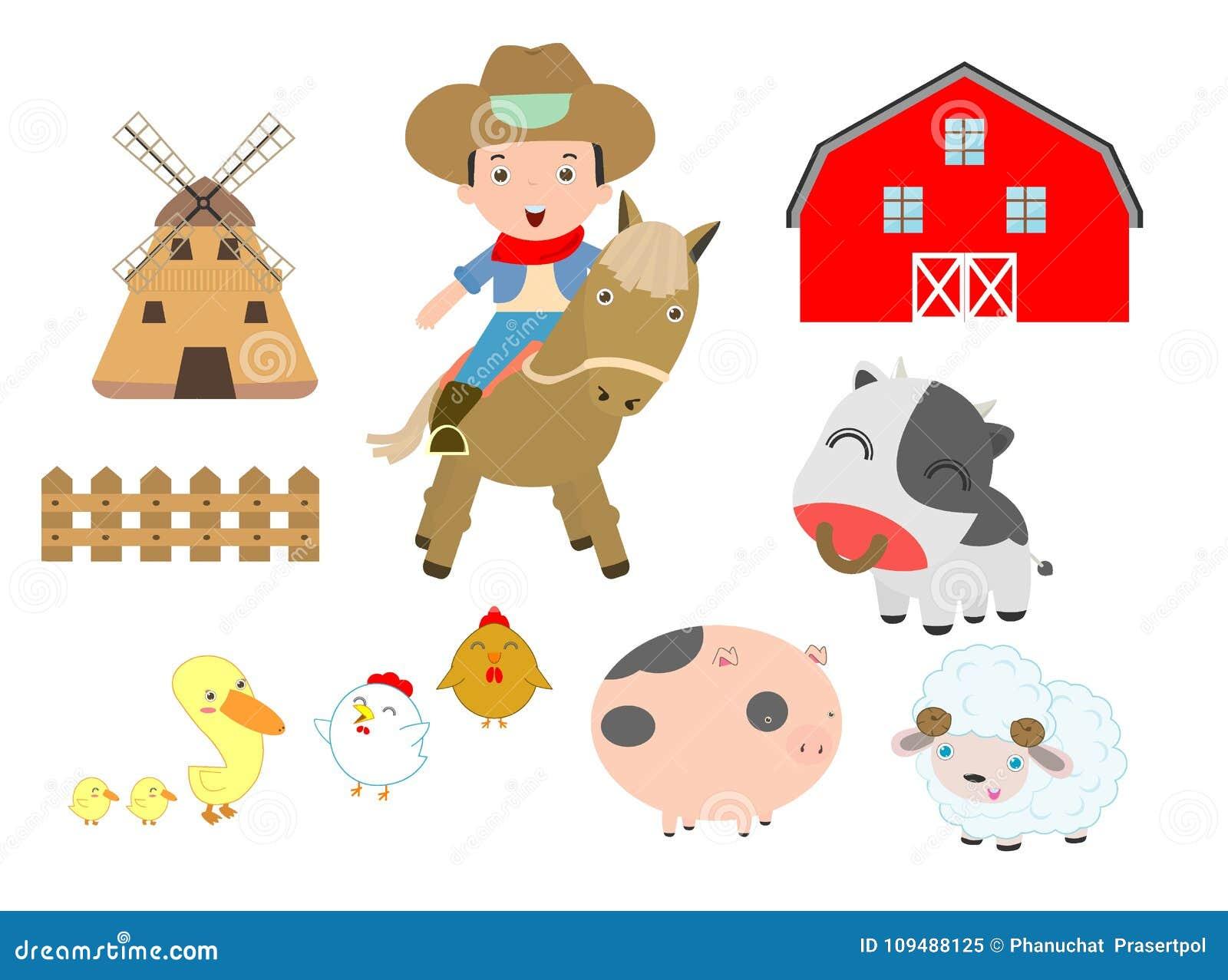 Set zwierzęta gospodarskie i kowboj na białym tle, stajnia, krowa, świnia, kurczak, kaczka, cakiel, koń, wół, Wektorowa ilustracj