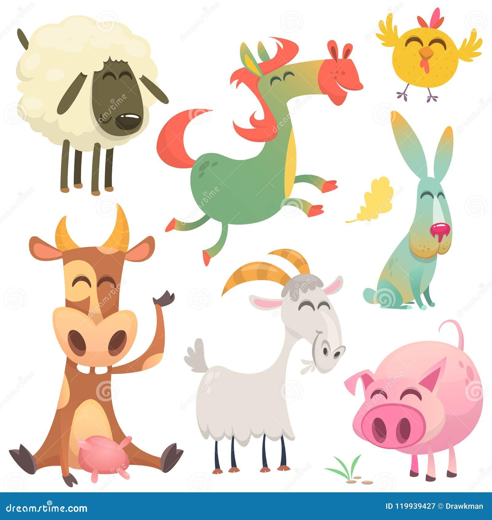 Set zwierzęta i ptaki z gospodarstwem rolnym w kreskówce projektujemy również zwrócić corel ilustracji wektora ow, koń, kurczak,