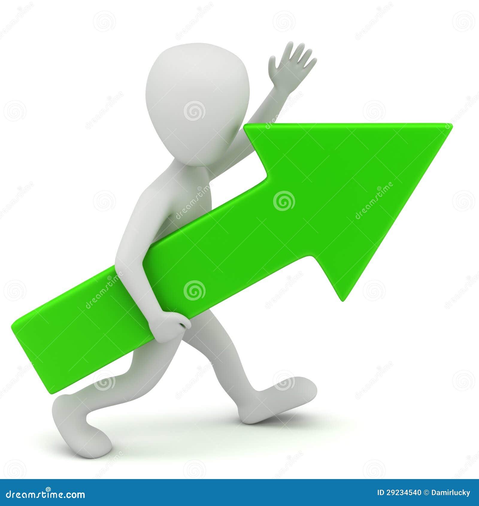 Download Seta 3d Pessoa-verde Pequena. Ilustração Stock - Ilustração de alto, sinal: 29234540