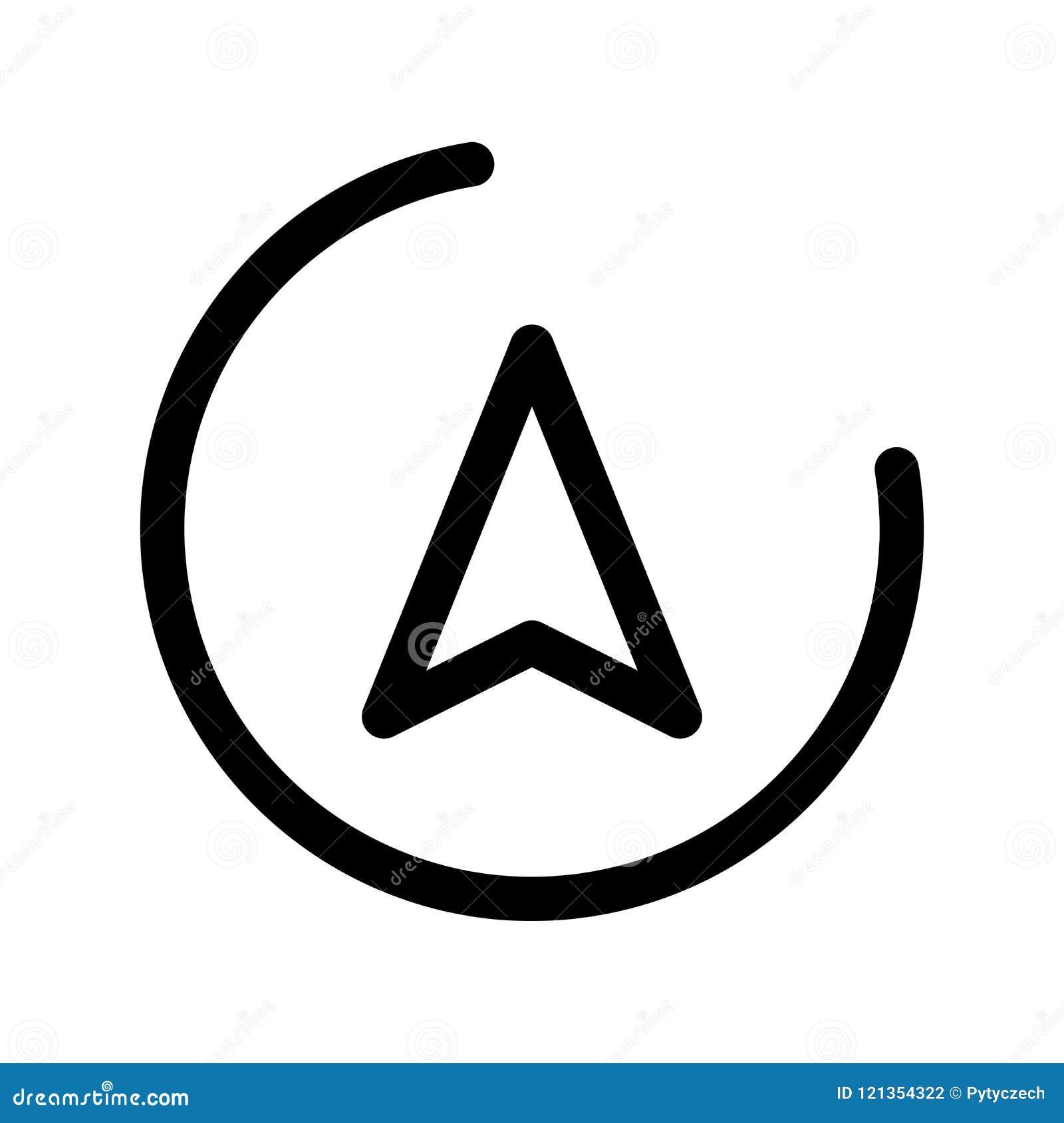 Seta do sentido em um círculo Tema da navegação Elemento do projeto moderno do esboço Sinal liso preto simples do vetor com arred