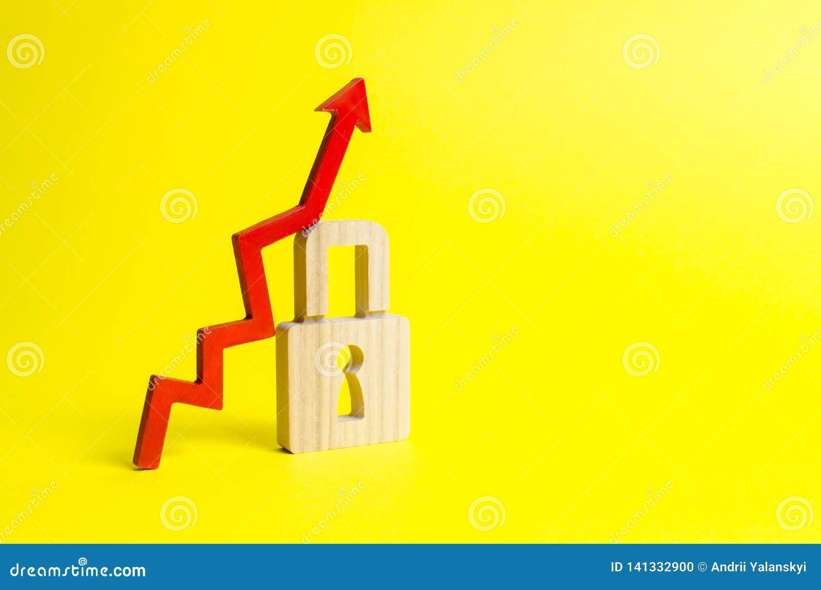 Seta e cadeado ascendentes vermelhos no fundo amarelo Crescimento conceptual do nível e da qualidade da proteção Altamente eficaz