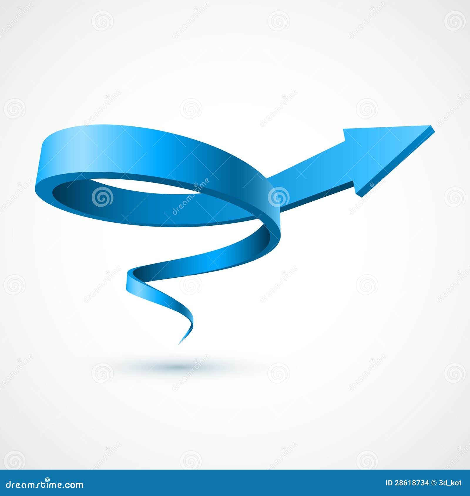 Seta espiral azul 3D