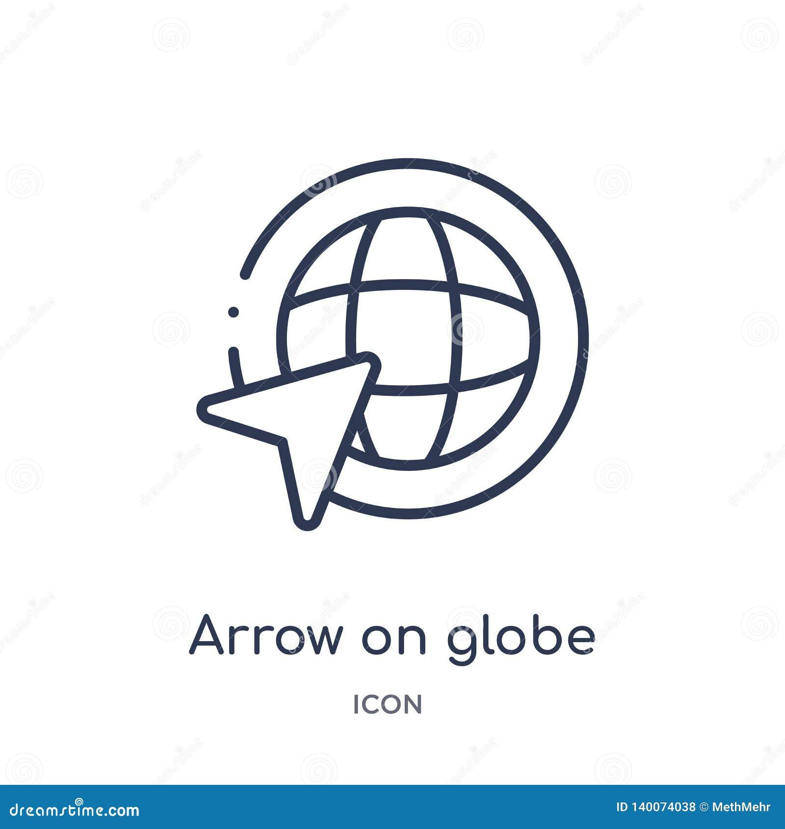 Seta linear no ícone do globo coleção do esboço dos mapas e das bandeiras Linha fina seta no ícone do globo isolado no fundo bran