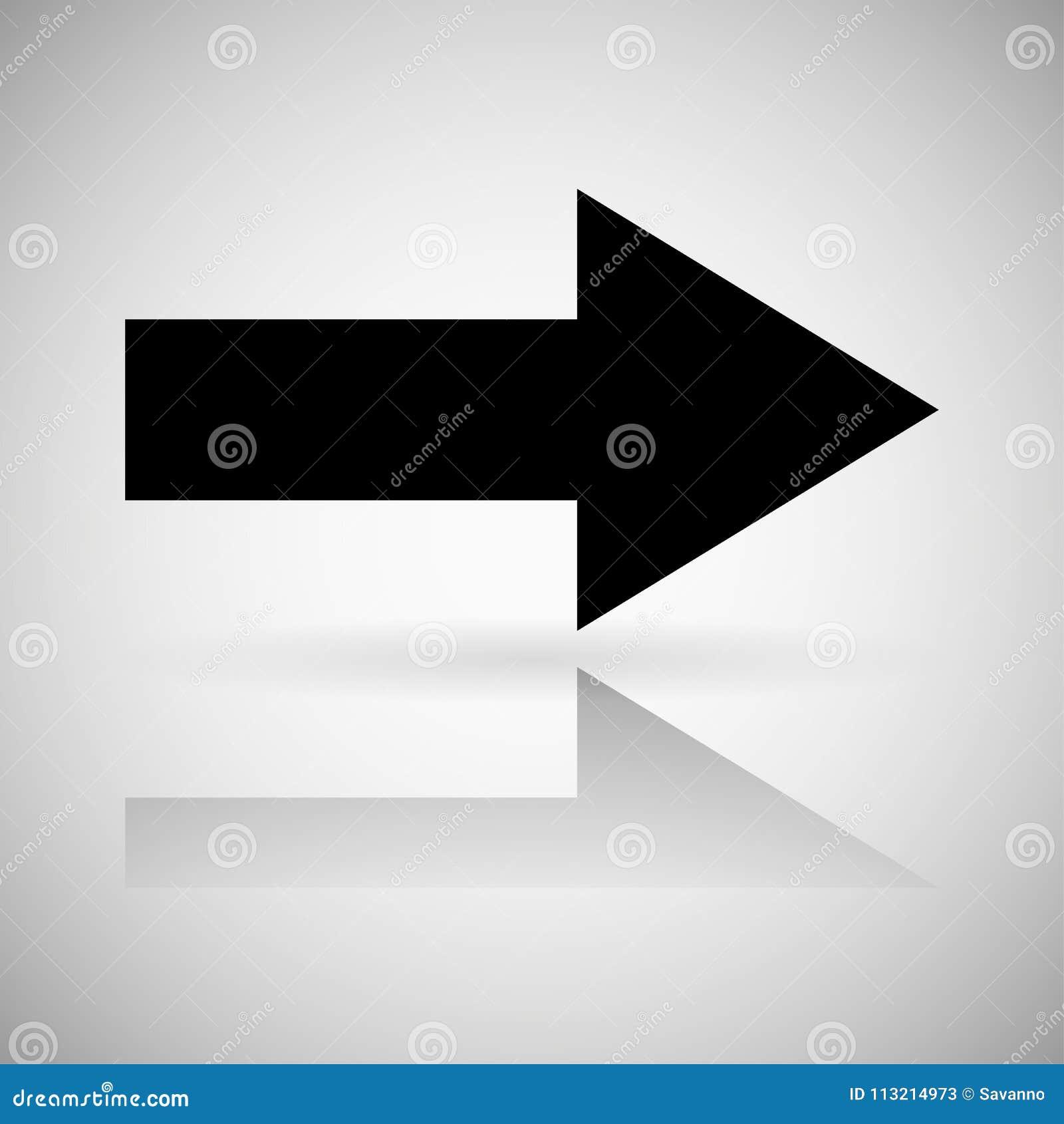 Seta preta Sinal direito reto com reflexão