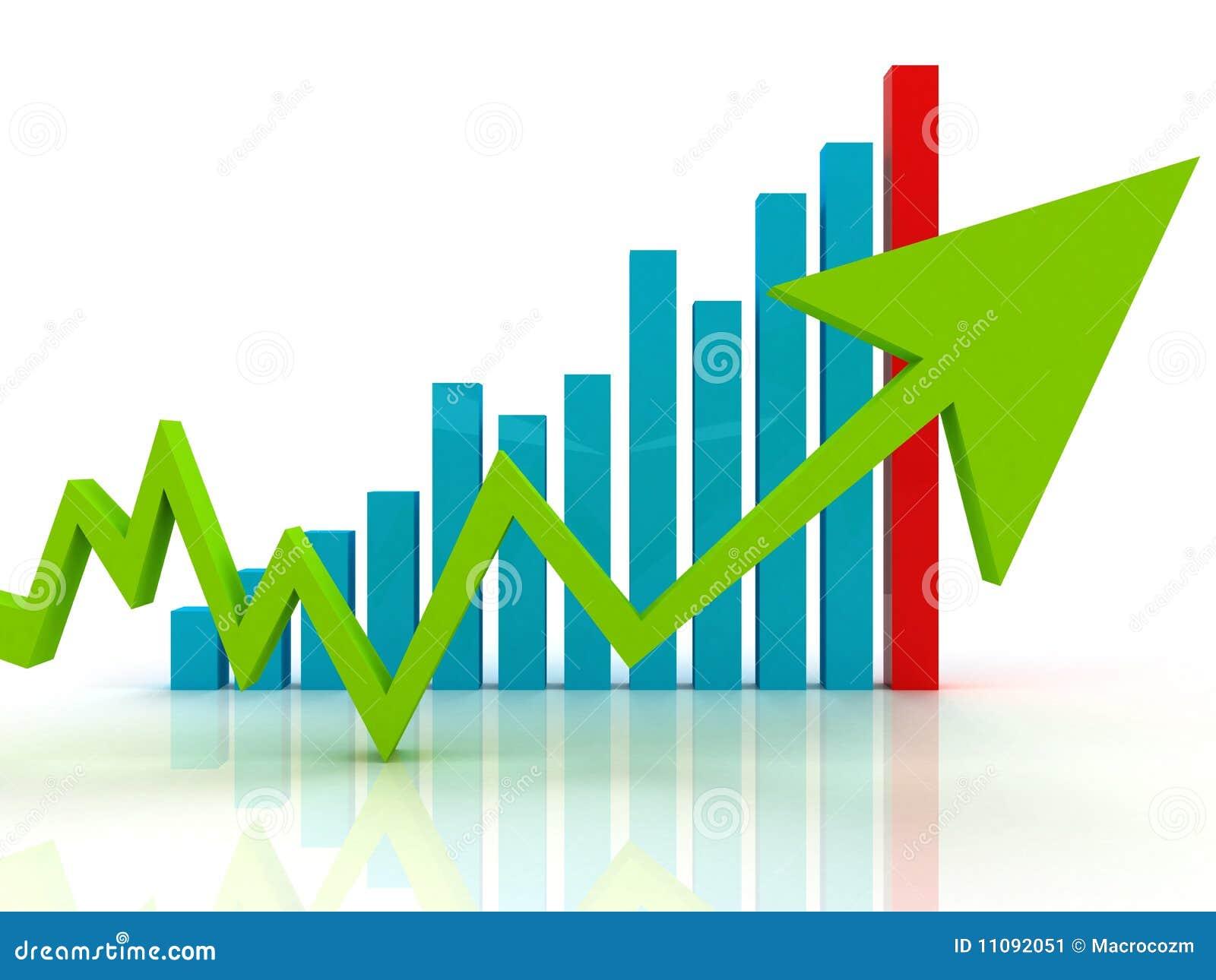Seta verde no gráfico de negócio