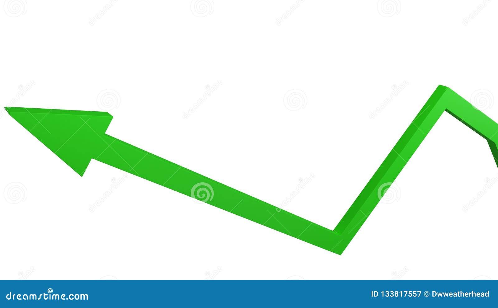 Seta verde que representa o conceito do crescimento econômico e do sucesso comercial isolados no branco
