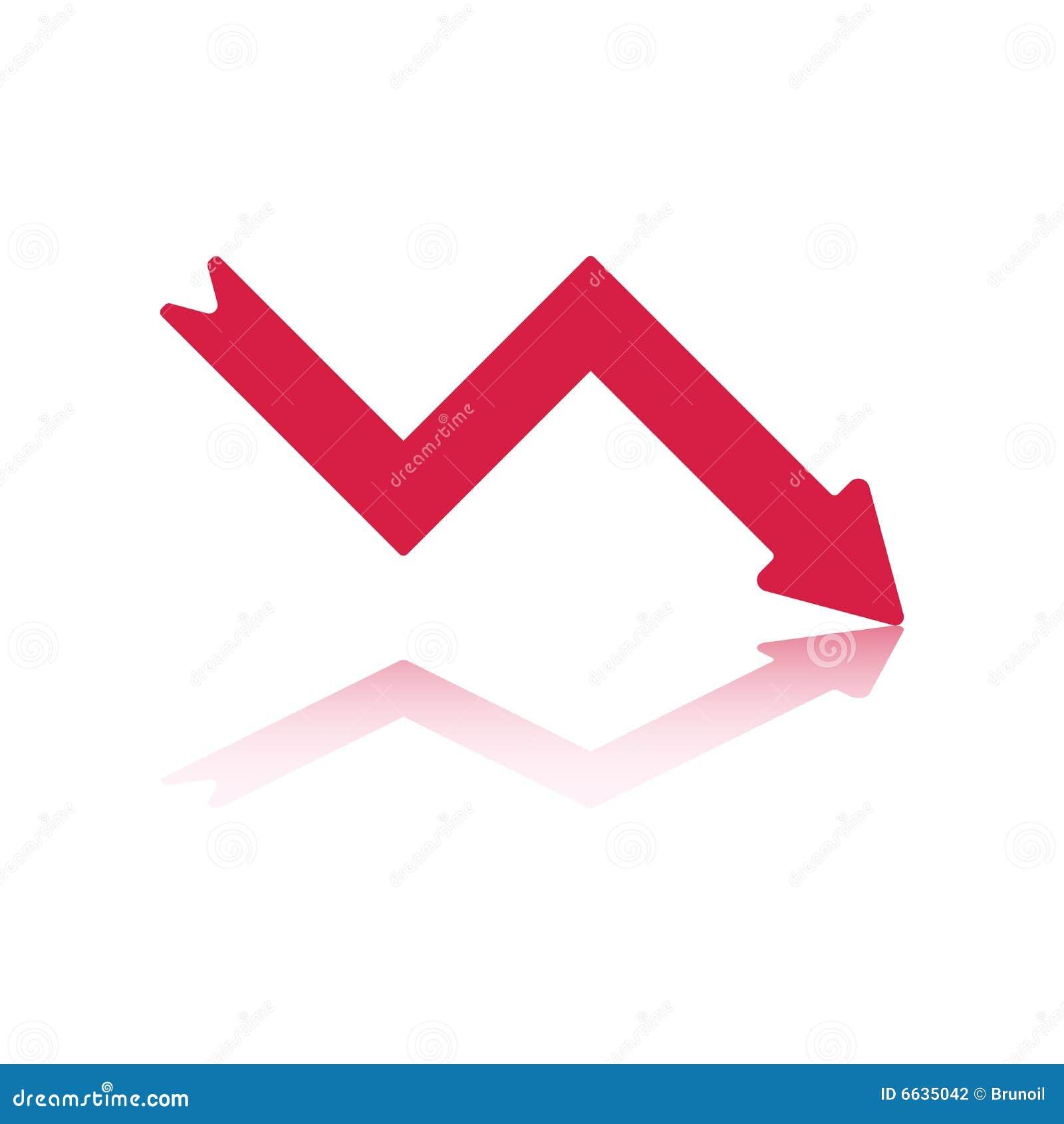 Seta Vermelha Do Declínio Fotografia de Stock - Imagem ...