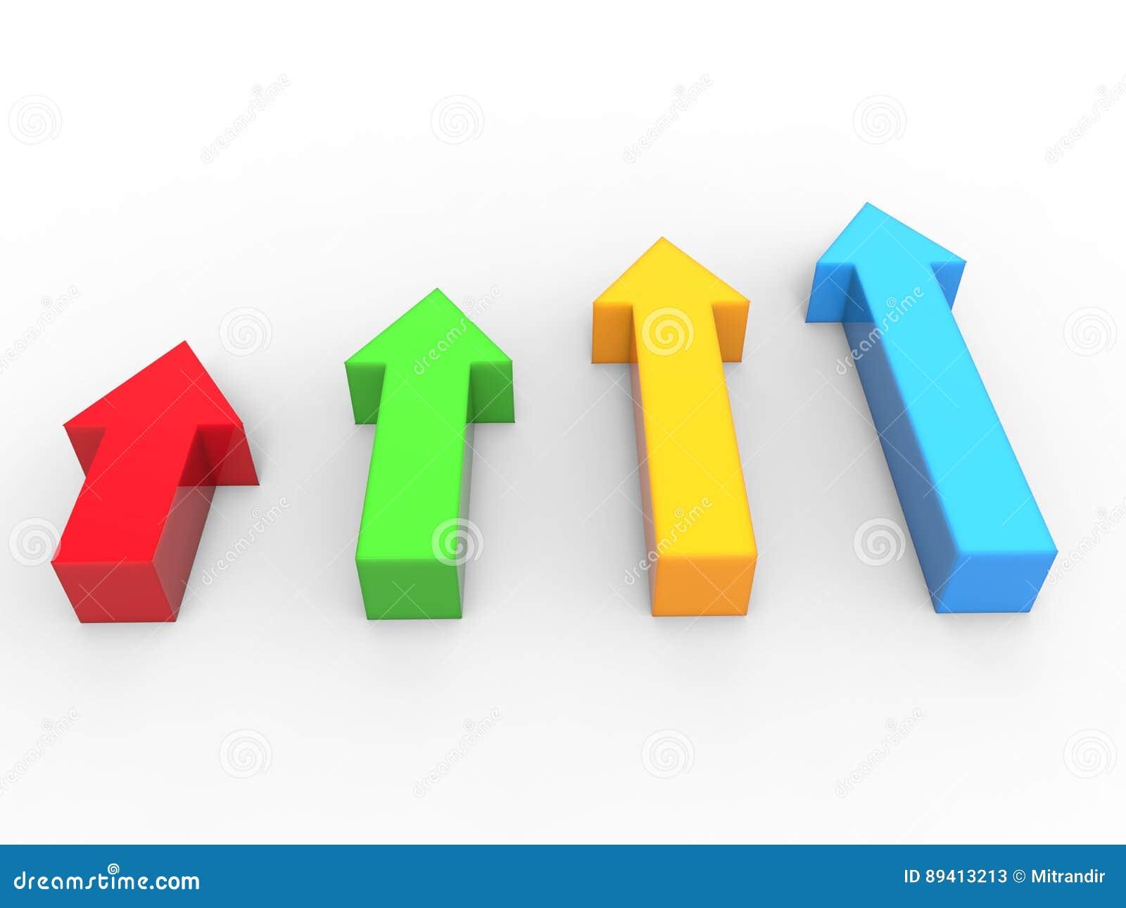 Setas 3D em apontar vermelho, verde, azul e amarelo acima