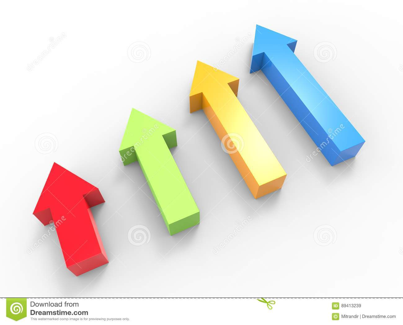 Setas 3D em vermelho, em verde, em azul e em amarelo - vista superior