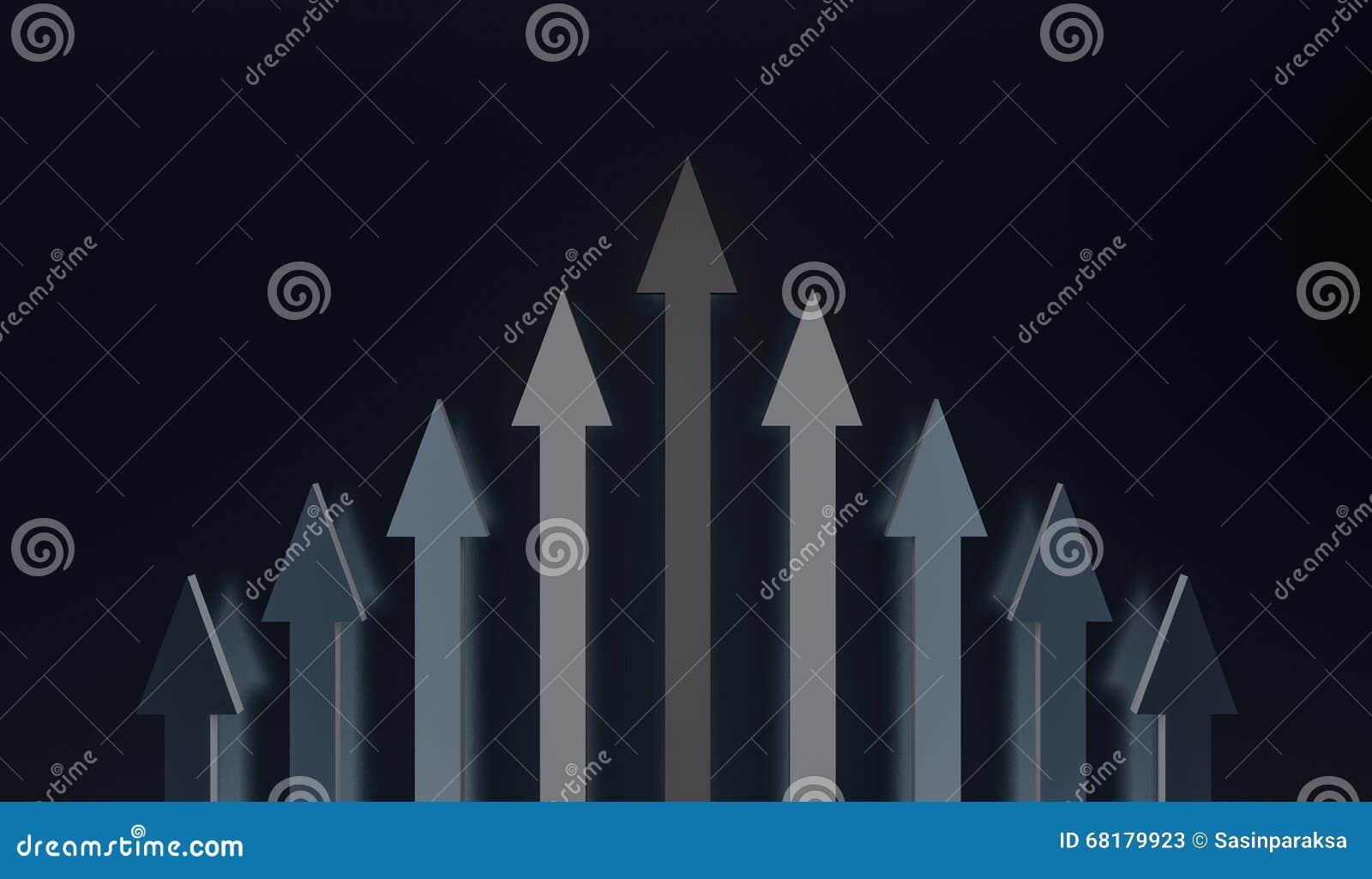 Setas a direito junto no mesmo sentido, trabalho da equipe, cooperação, liderança e etc. conceito, 3d rendido