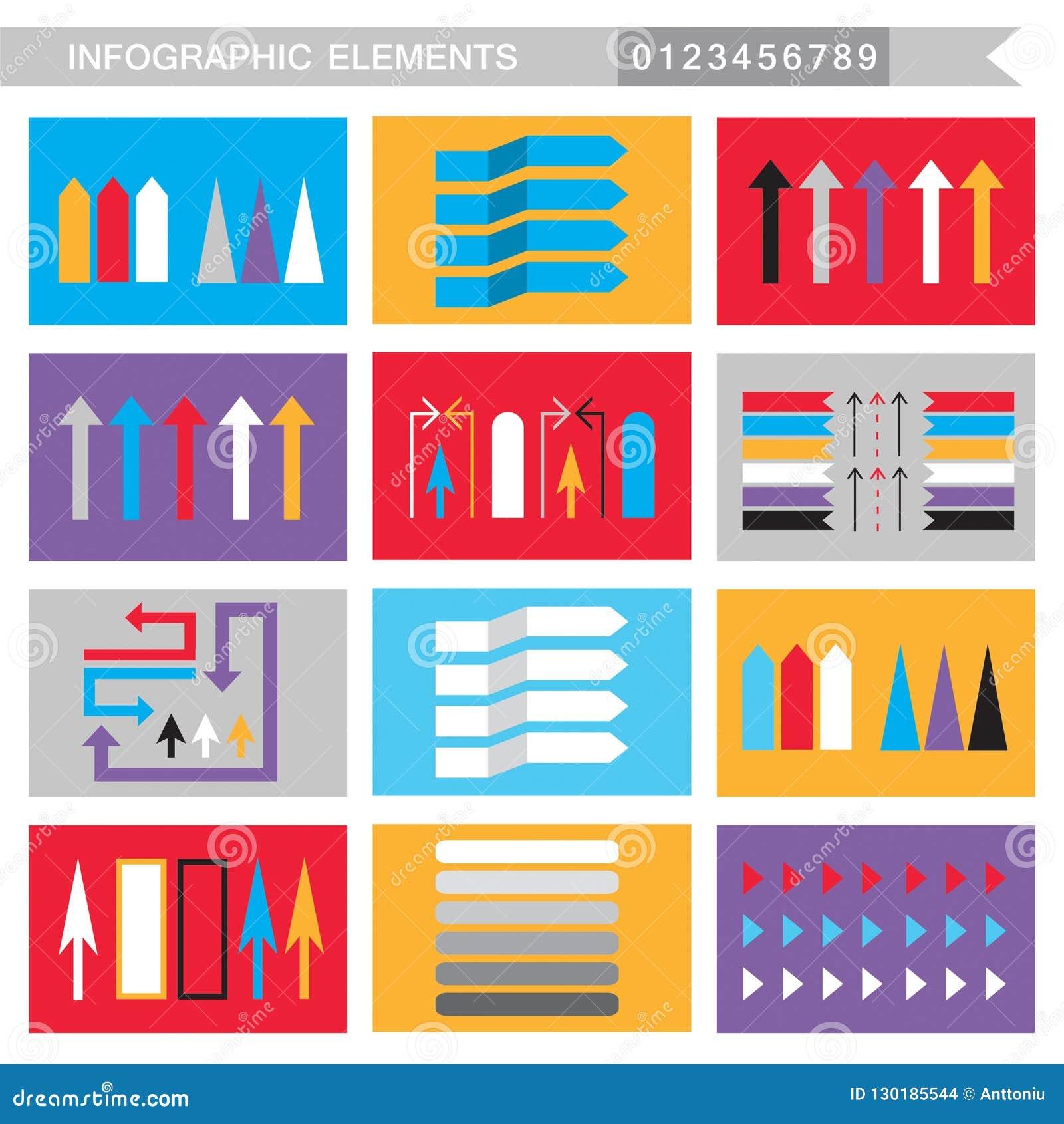 Setas dos elementos de Infographic, sinais, barras, botões, beiras etc.