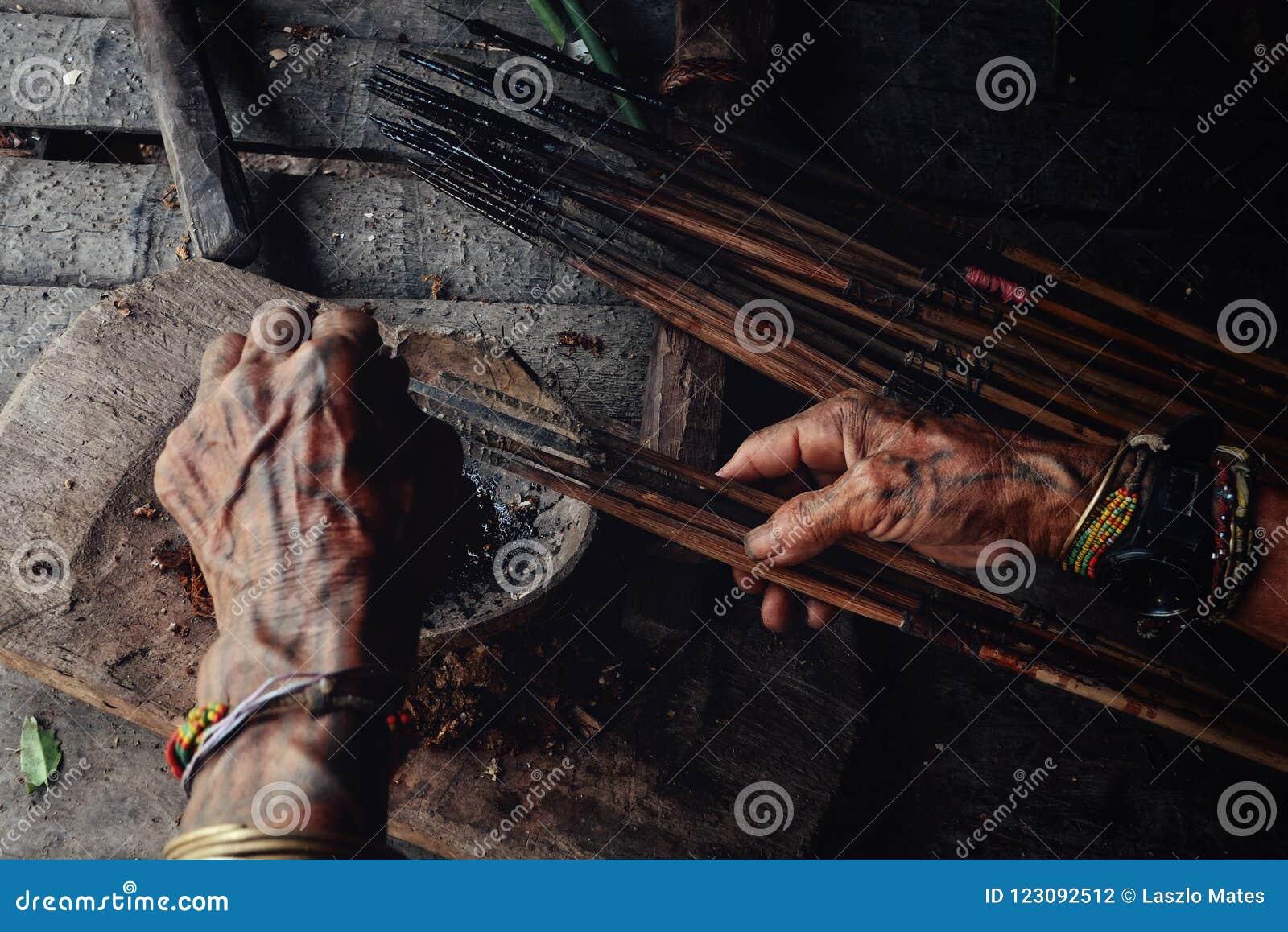 Setas tribais do envenenamento de Toikot da pessoa idosa para caçar em sua casa da selva