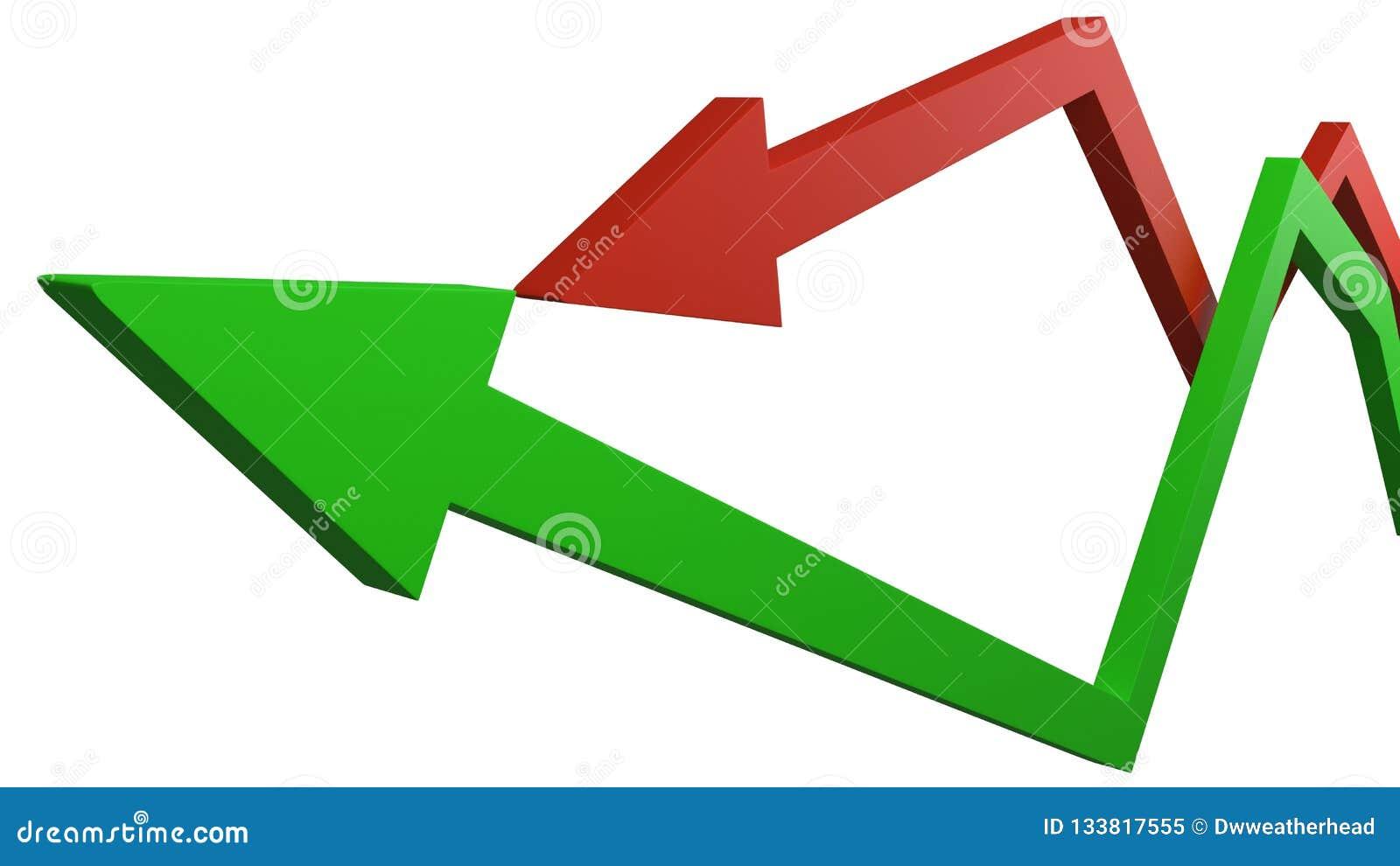 Setas verdes e vermelhas que representam ganhos e perdas de flutuação nas finanças da economia ou do negócio