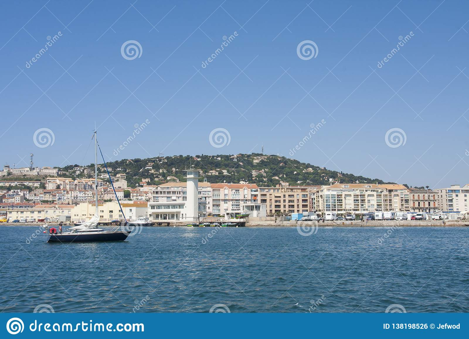 Sailing ship in Sete Harbor in the south of France