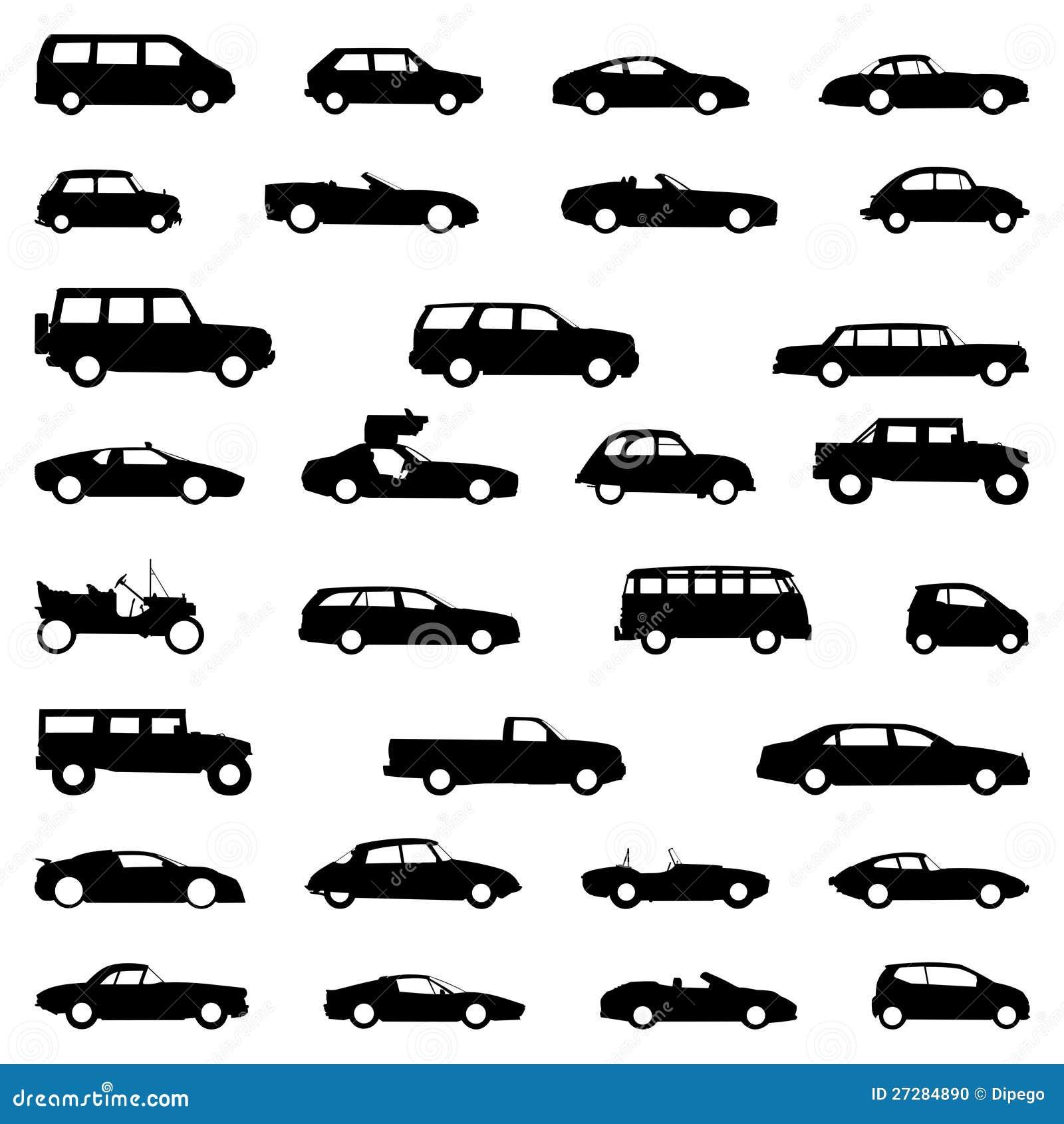 Seten av bilar, silhouette black