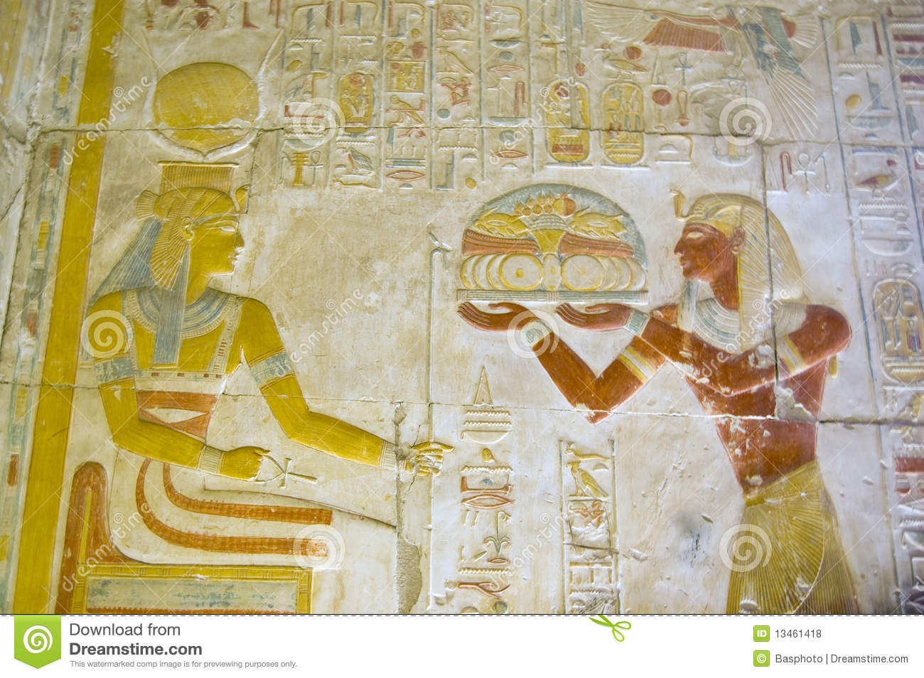 Seti offering food to the goddess hathor stock photo for Ancient egyptian cuisine