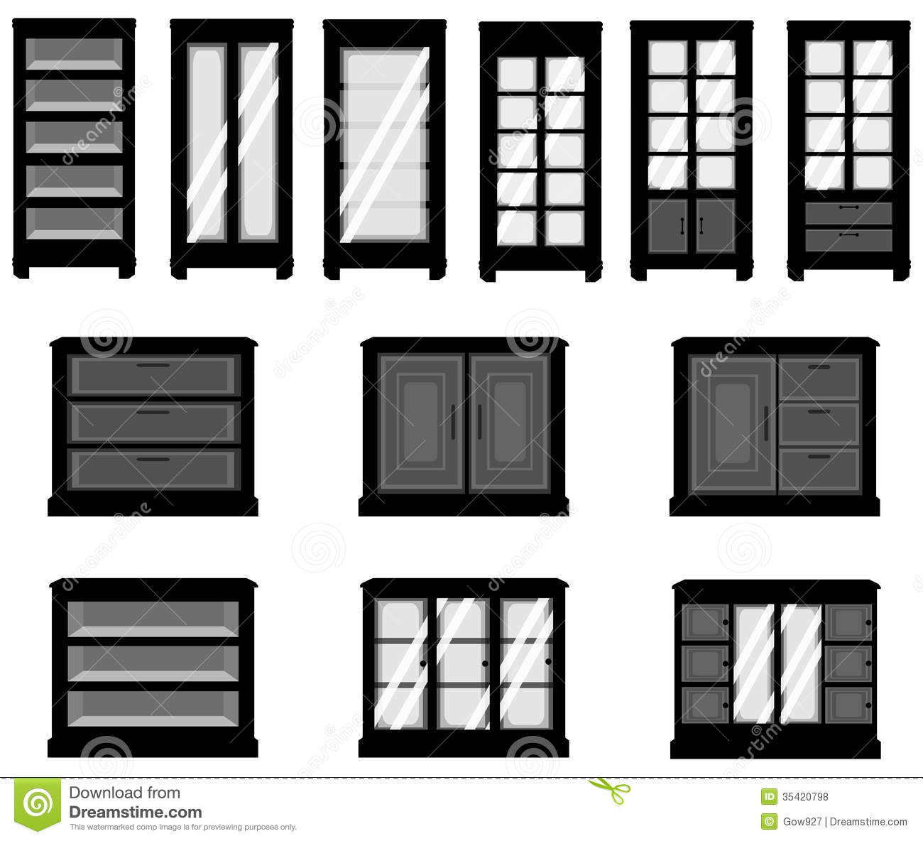 Kitchen Furniture Silhouette: Sets Of Silhouette Cabinets, Create By Vector Royalty Free