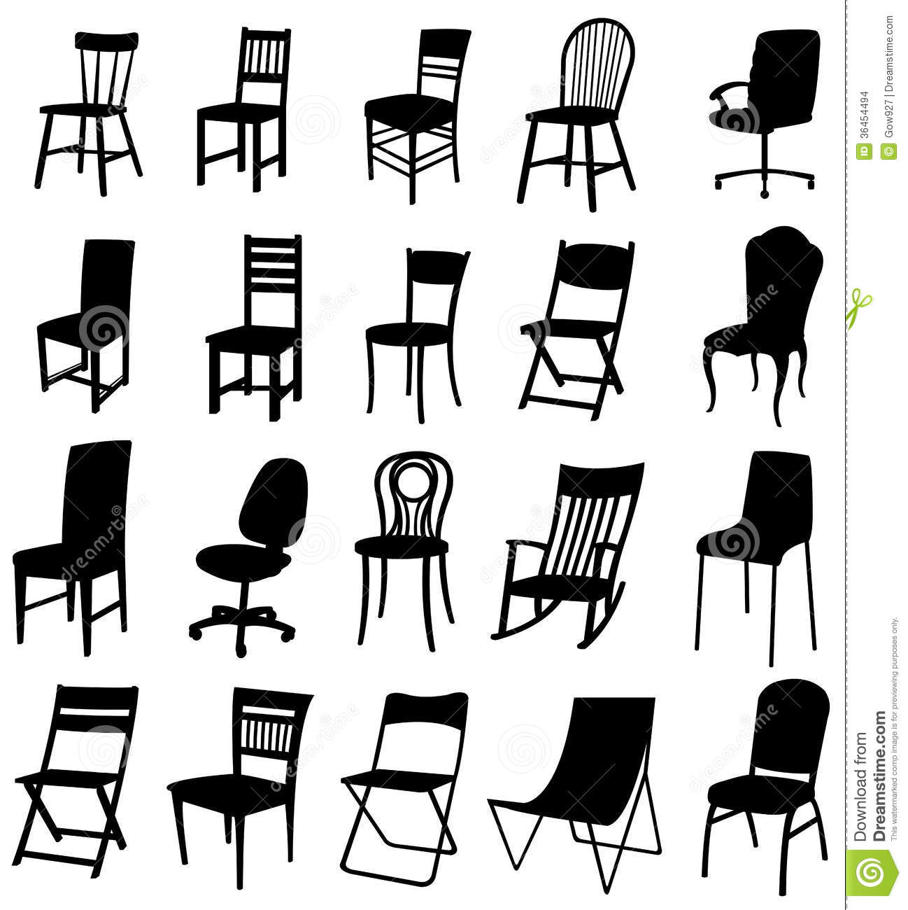 Antique chair silhouette - Sets Of Silhouette Chair 2 Stock Images