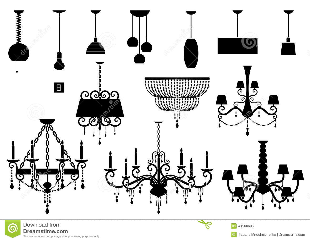 Sets Of Silhouette Chandelier And Lamp Stock Vector