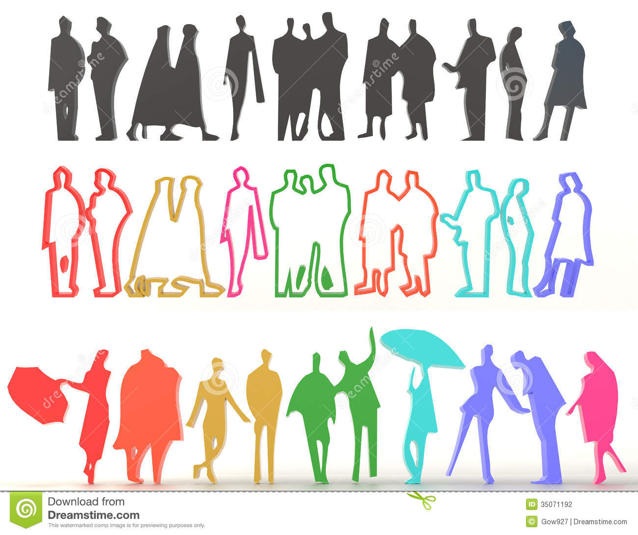 Sets Of Silhouette And Colorful People In 3D Stock ... Colorful People