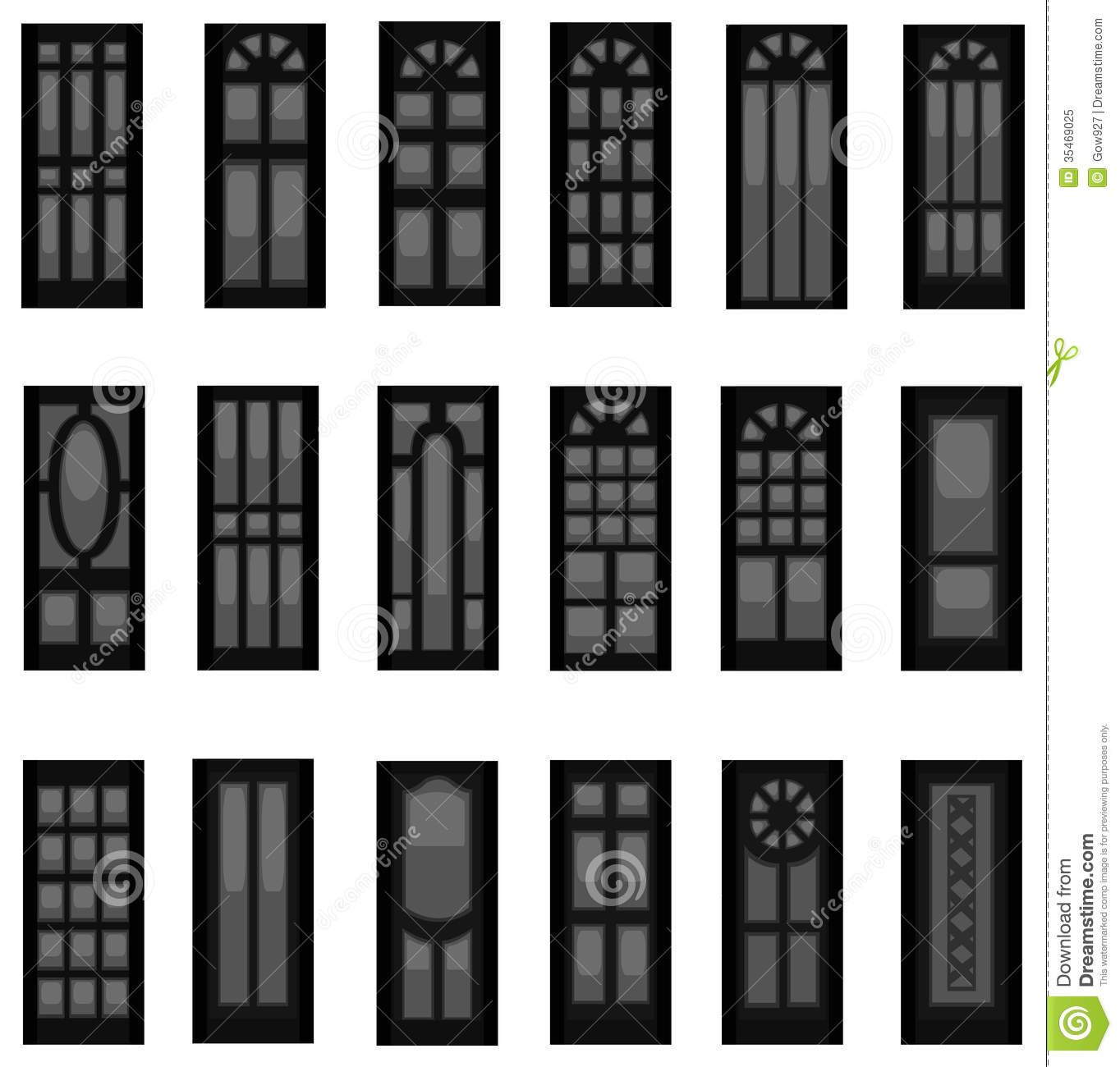 Sets Of Silhouette Doors Create By Vector Stock Vector