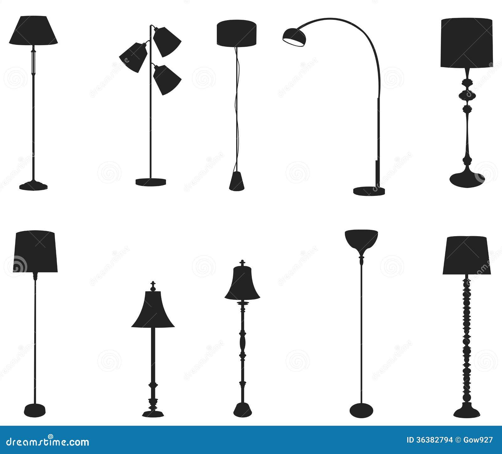 Create 3d Floor Plan Sets Of Silhouette Floor Lamps Create By Vector Stock