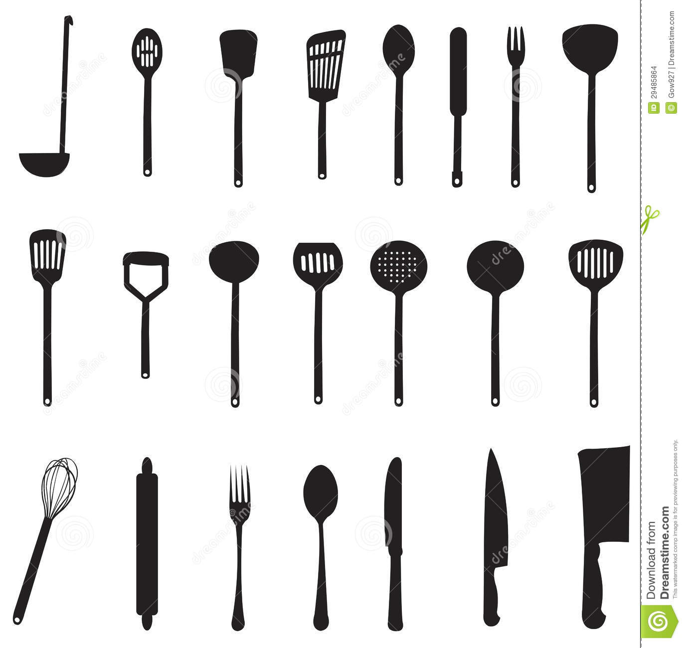 Sets Of Silhouette Kitchen Tools Stock Images Image 29485864