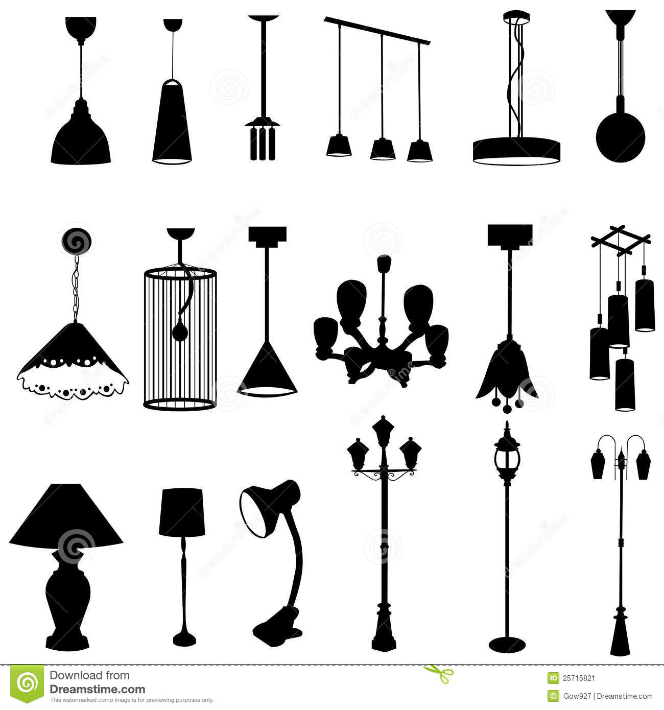 Hanging Lamp Vector: Sets Of Silhouette Lamps Stock Vector. Illustration Of