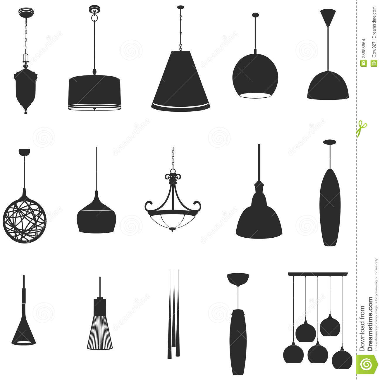 Bedroom Light Fixture Sets Of Silhouette Lamps 2 Create By Vector Stock Vector