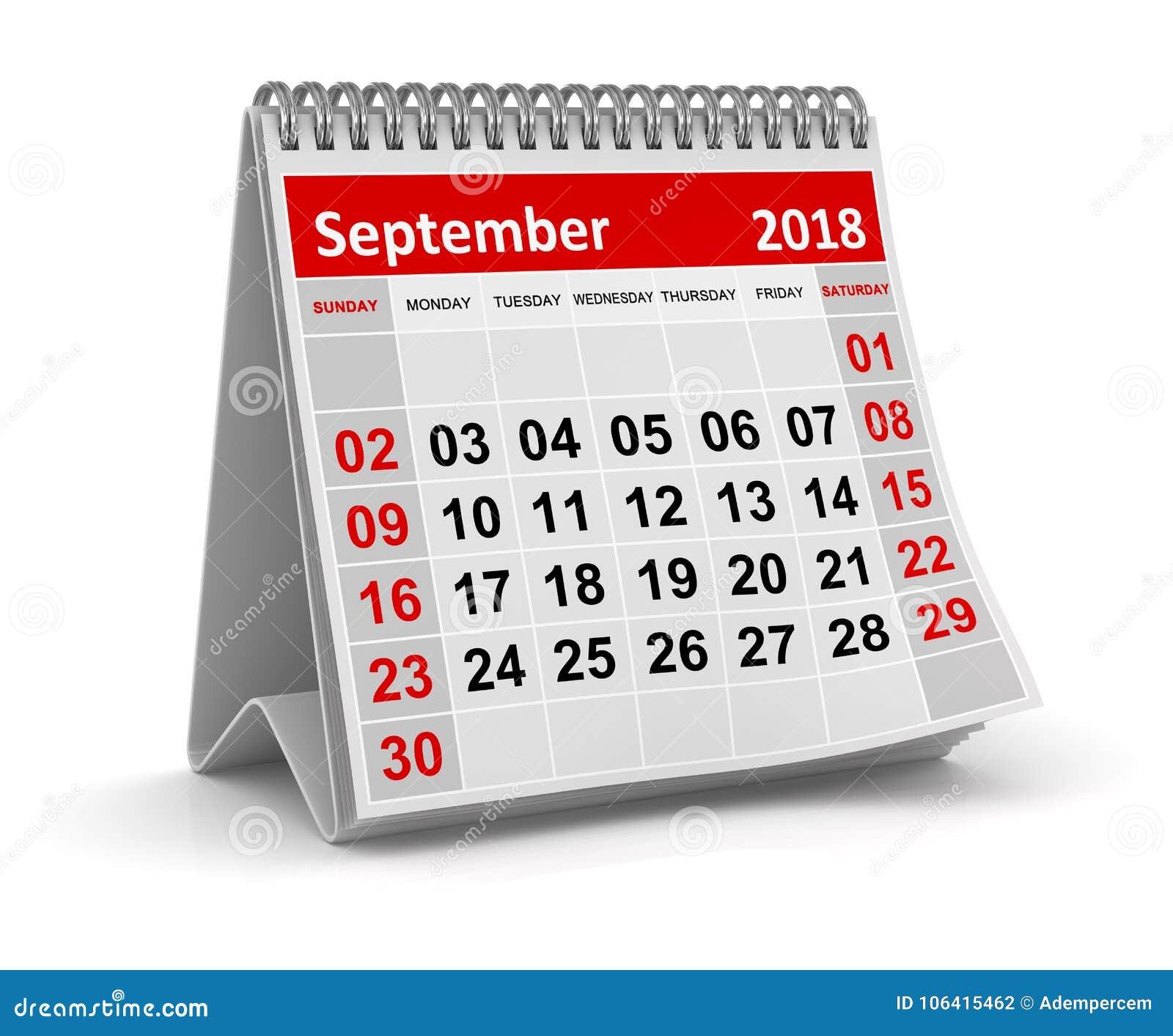 Settembre 2018 - calendario