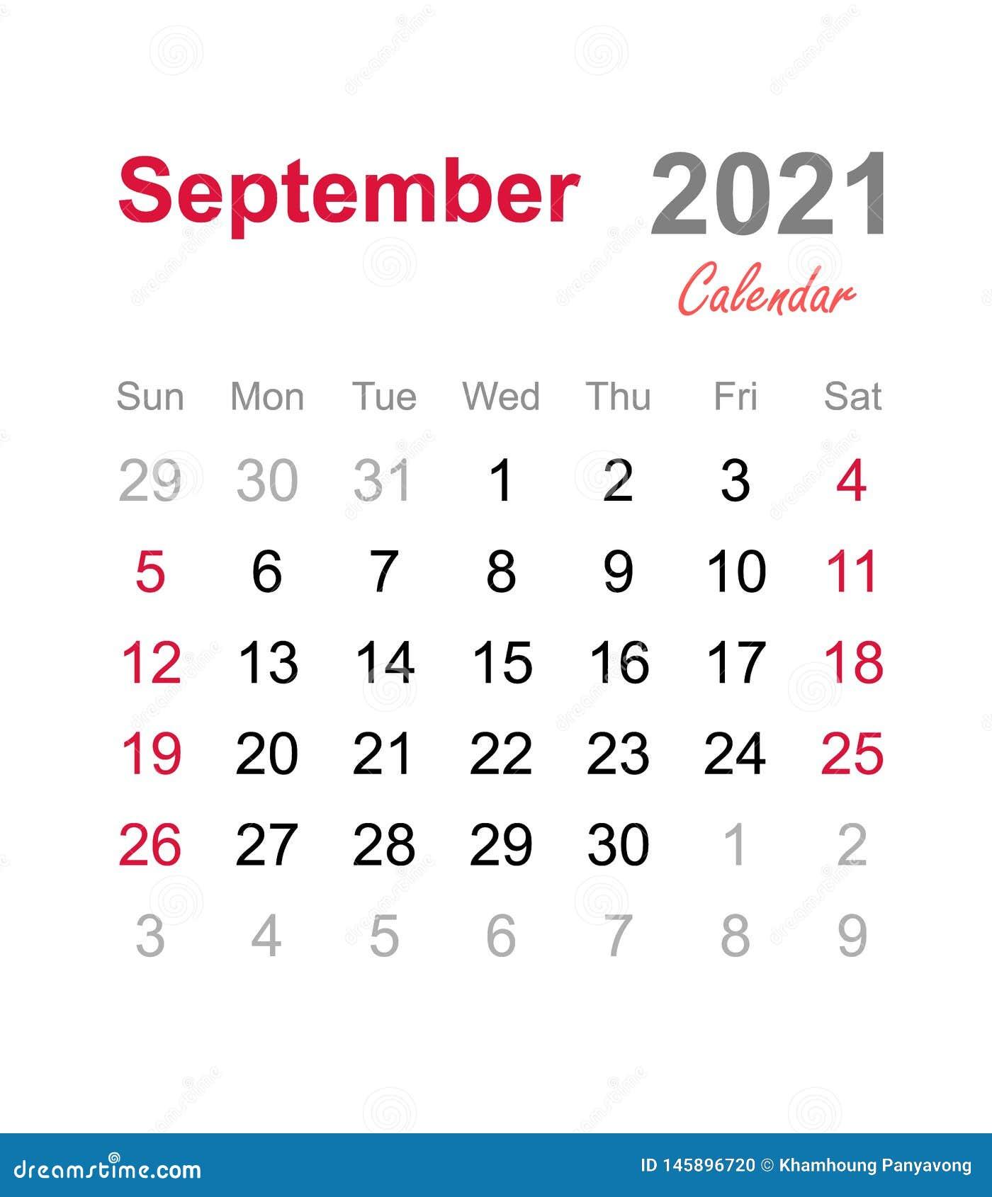 Settembre 2021 Calendario   Modello Mensile Del Calendario
