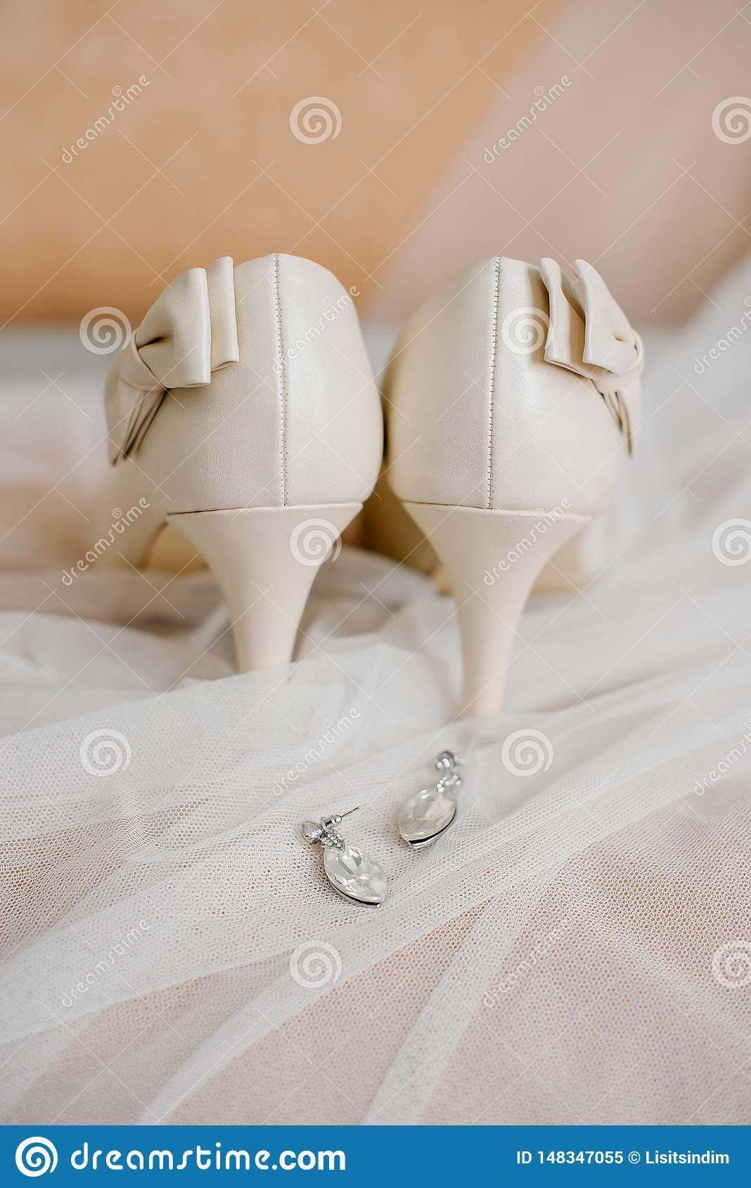 Setting the bride`s wedding items at the training camp