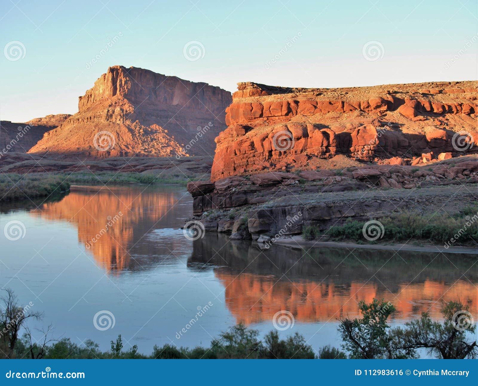 Colorado River Sunset Reflections near Moab