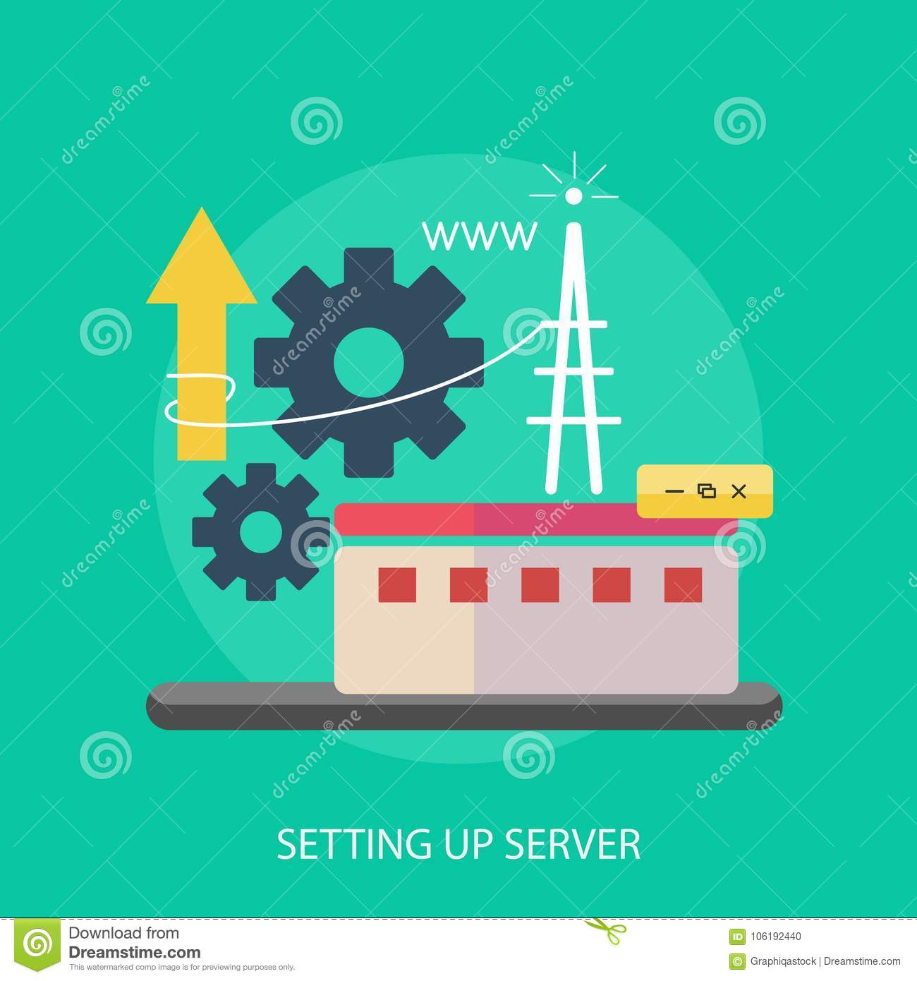 Setting Up Server Conceptual Design Stock Vector - Illustration of