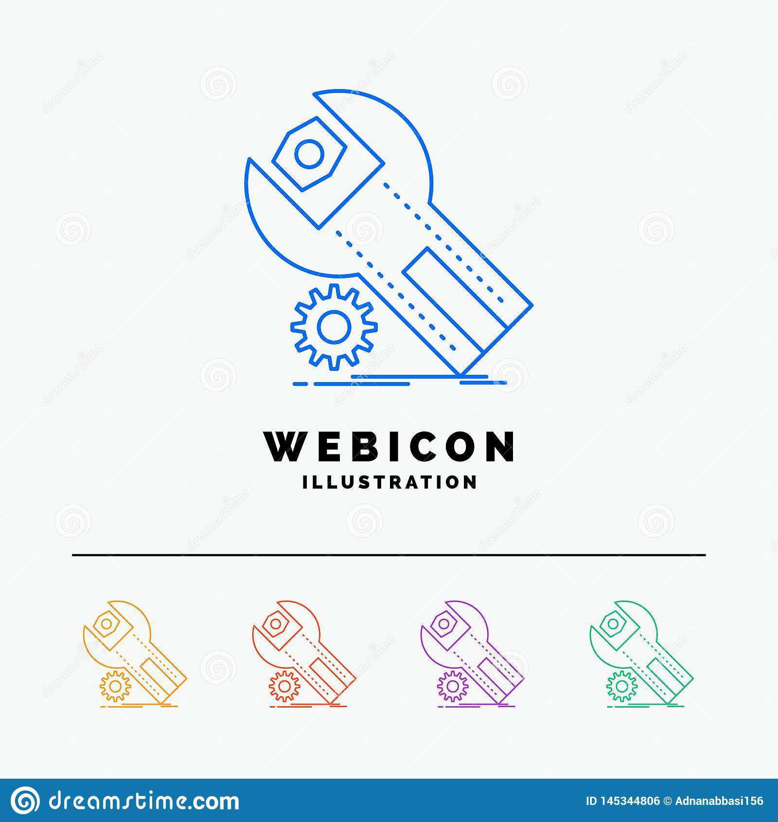 settings, App, installation, maintenance, service 5 Color Line Web Icon Template isolated on white. Vector illustration