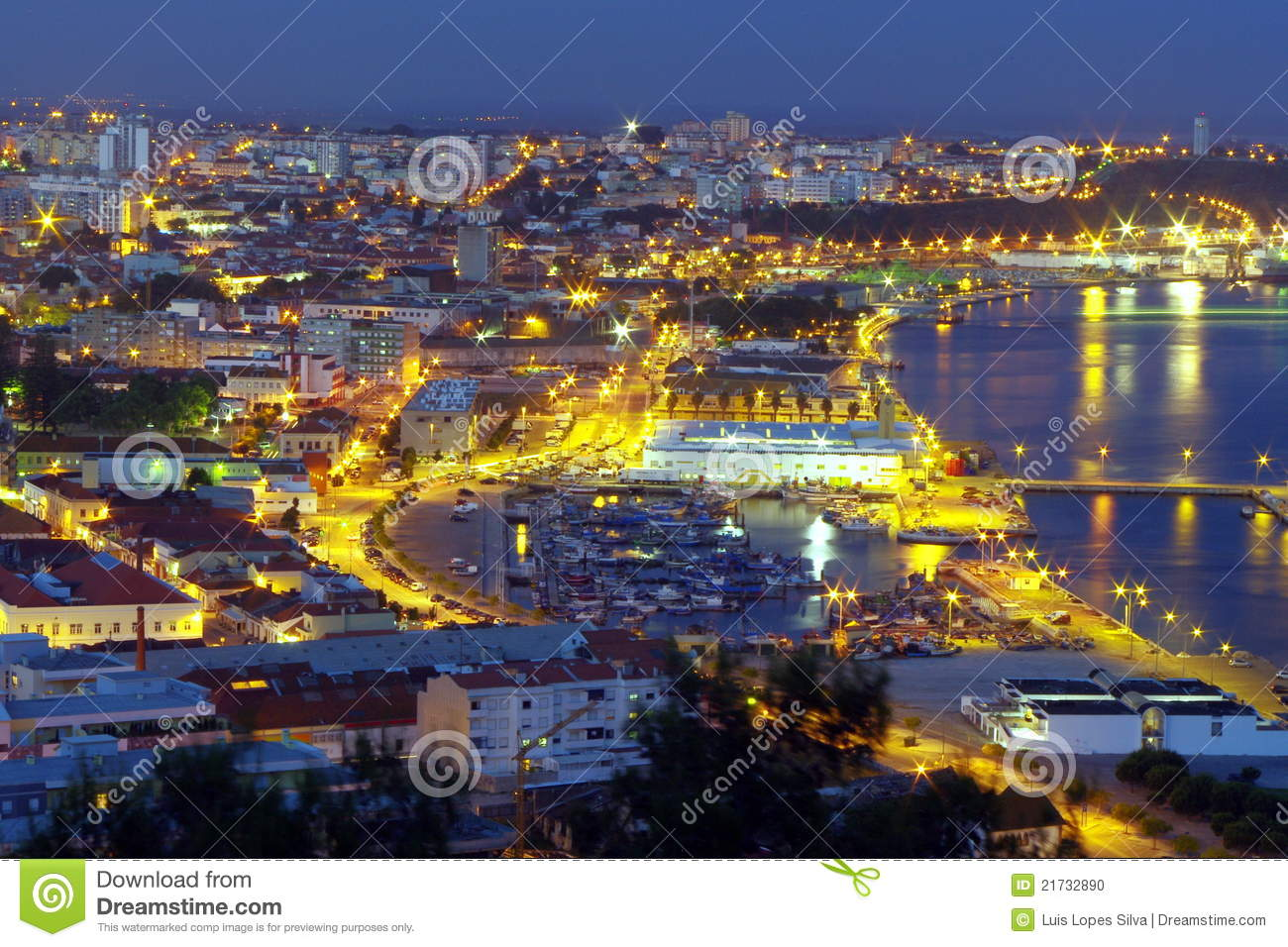 City lights and harbour at night, Setubal, Portugal.