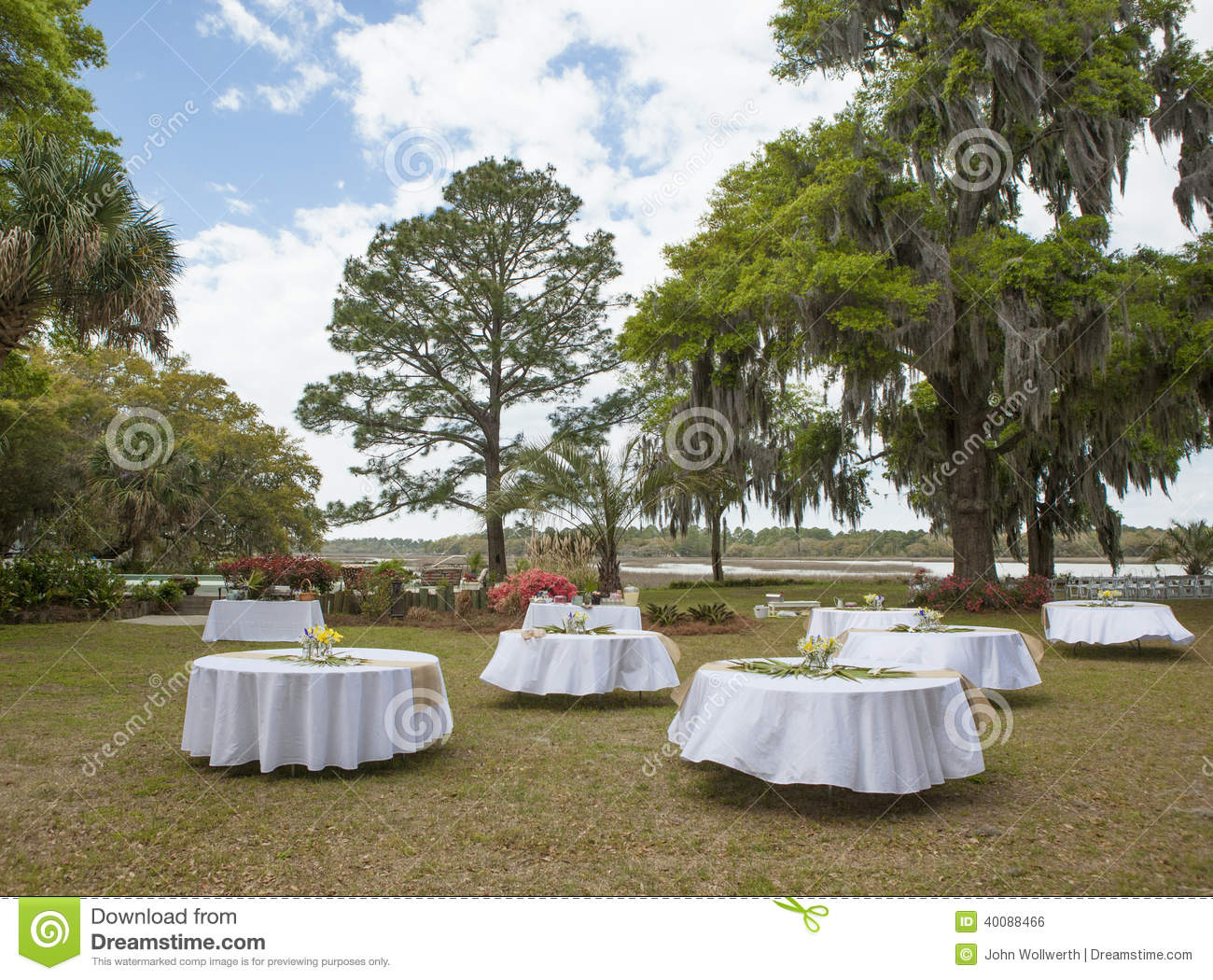Download Setup For Outdoor Wedding Reception Stock Photo